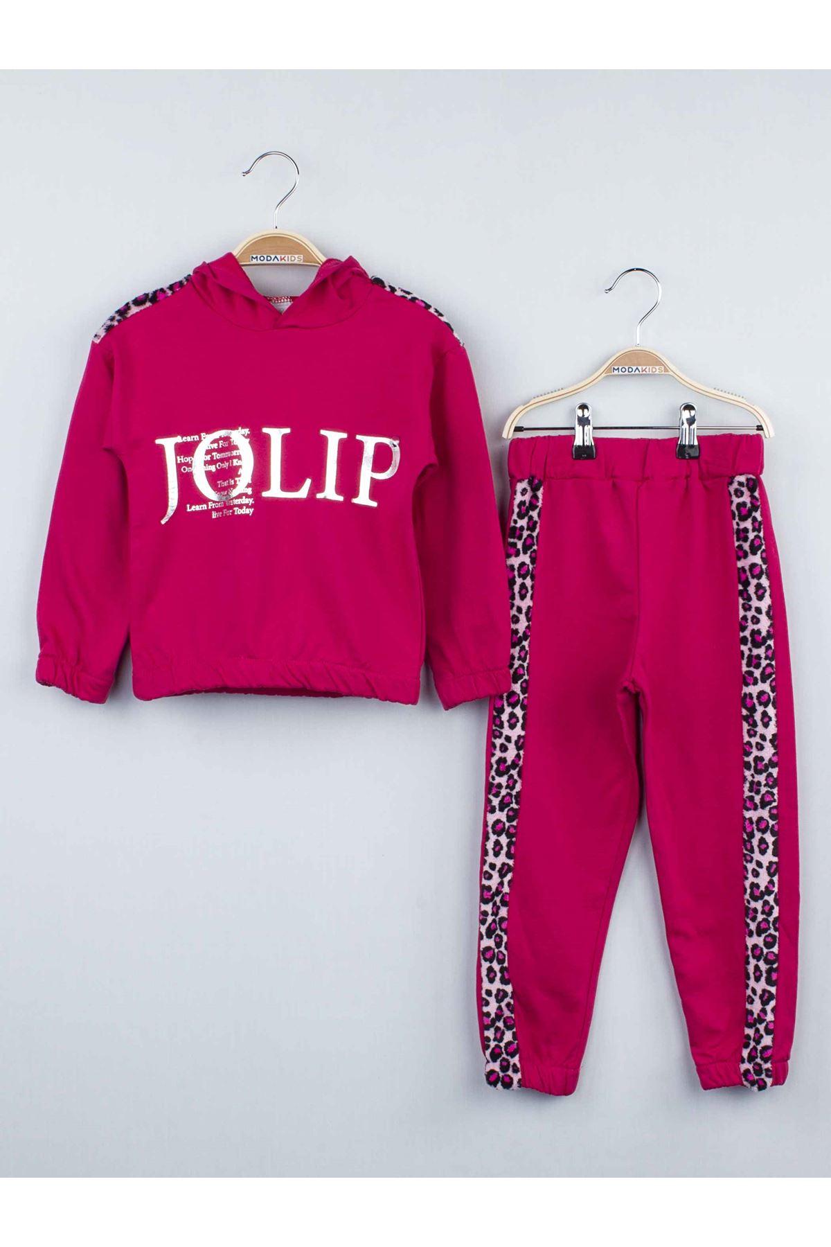 Fuchsia girls seasonal 2 piece hoodie sweat-bottom tracksuit set cotton daily casual fabric models stylish girls model