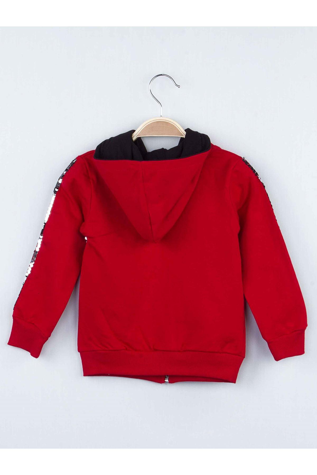 Kırmızı Mevsimlik Pullu Kapüşonlu Kız Çocuk Taytlı Takım