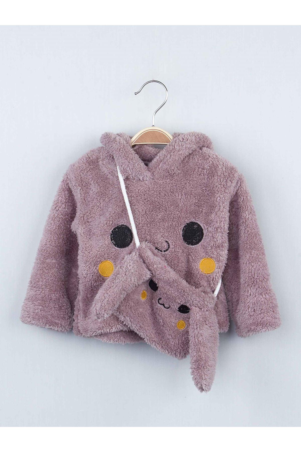 Mürdüm Kışlık Peluş Çantalı Kız Çocuk Taytlı Takım