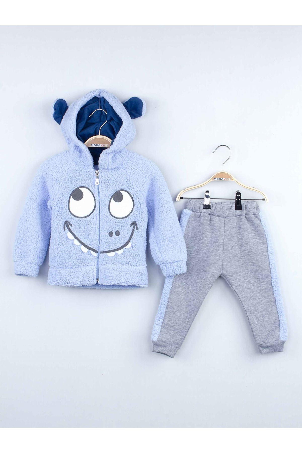 Mavi Kışlık Peluş Kapüşonlu Erkek Çocuk 2 li Takım