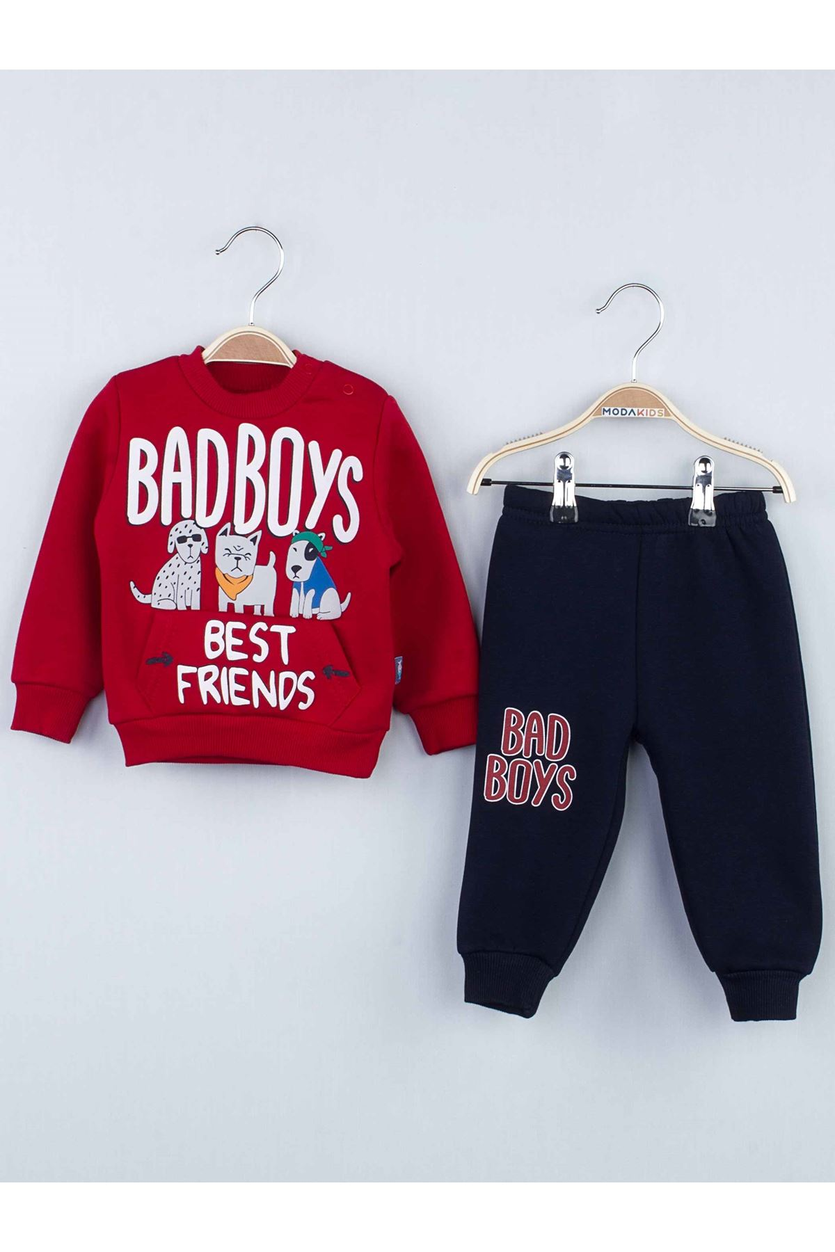 Red Winter Male Baby Tracksuit Set
