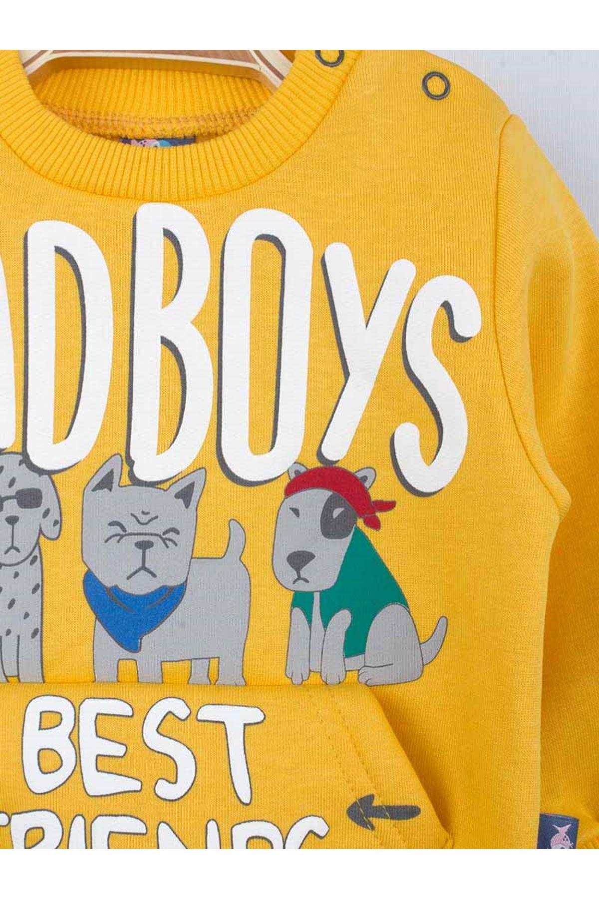 Sarı Kışlık Erkek Bebek Eşofman Takımı
