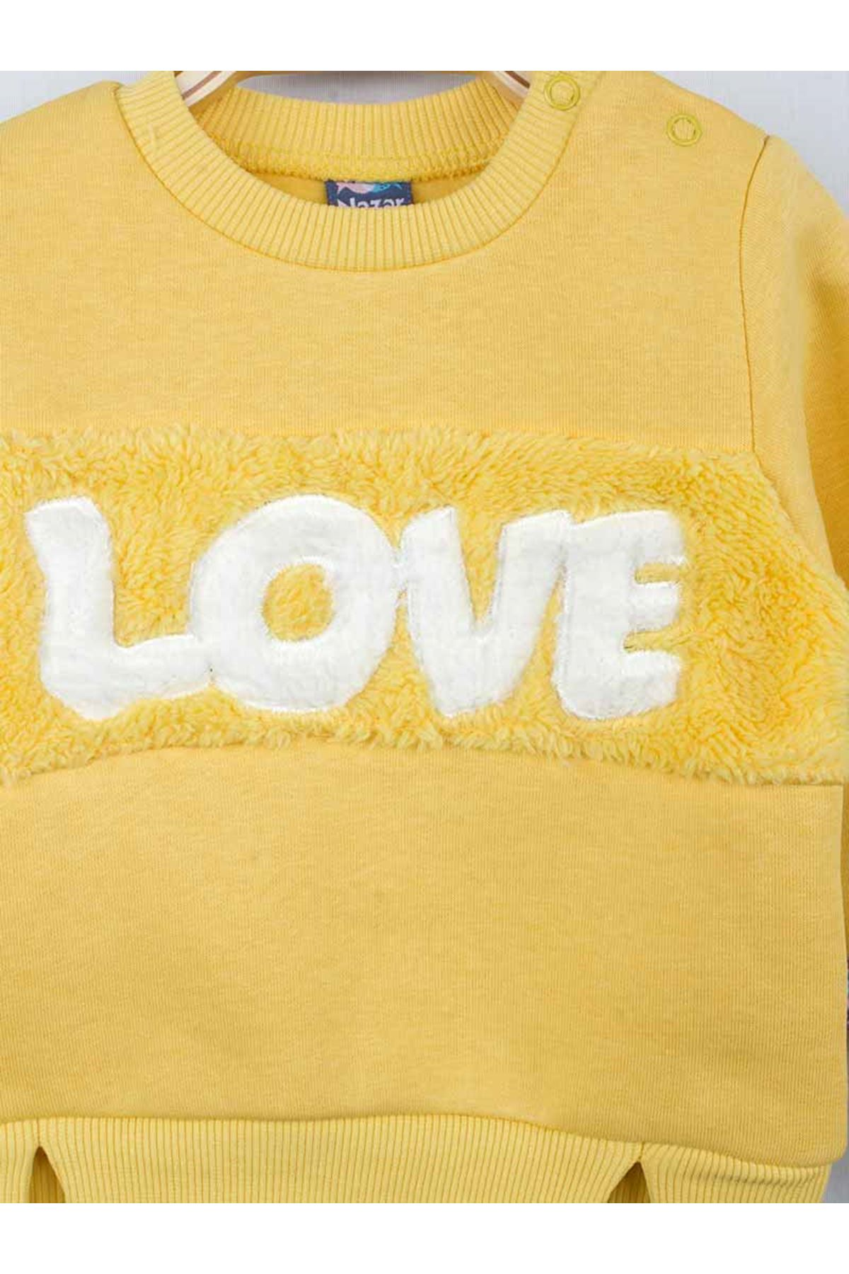 Sarı Kışlık Kız Bebek 2 li Takım