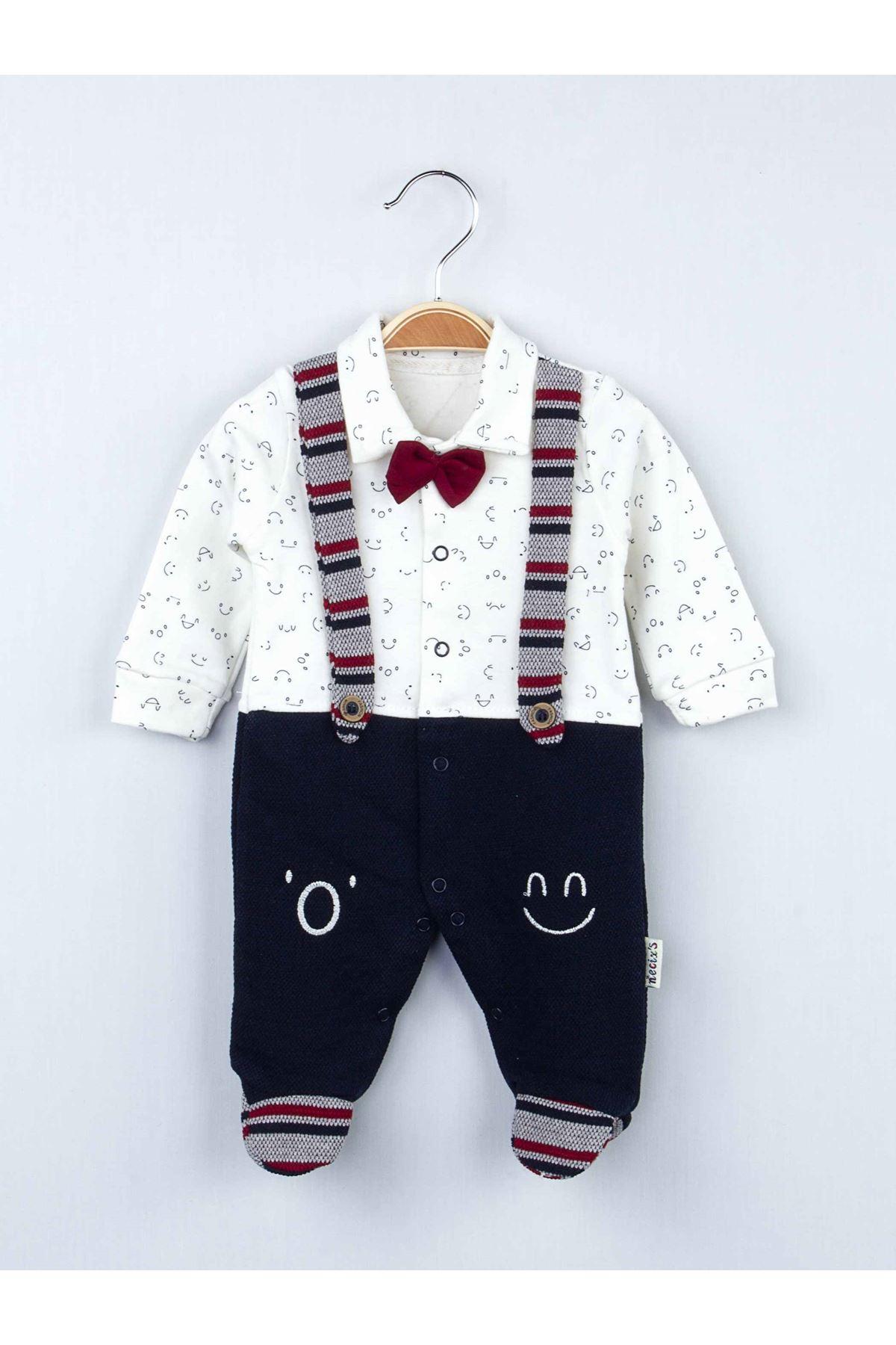 Lacivert Kışlık Erkek Bebek Papyonlu Tulum