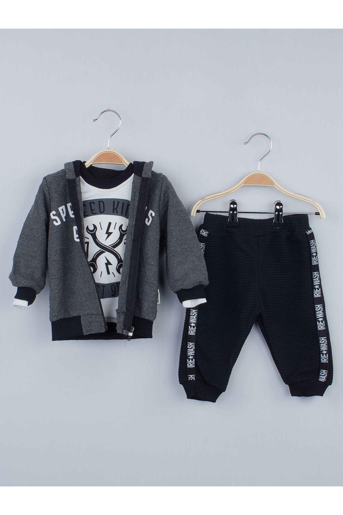 Gri Kışlık Kapüşonlu Erkek Bebek 3 lü Takım