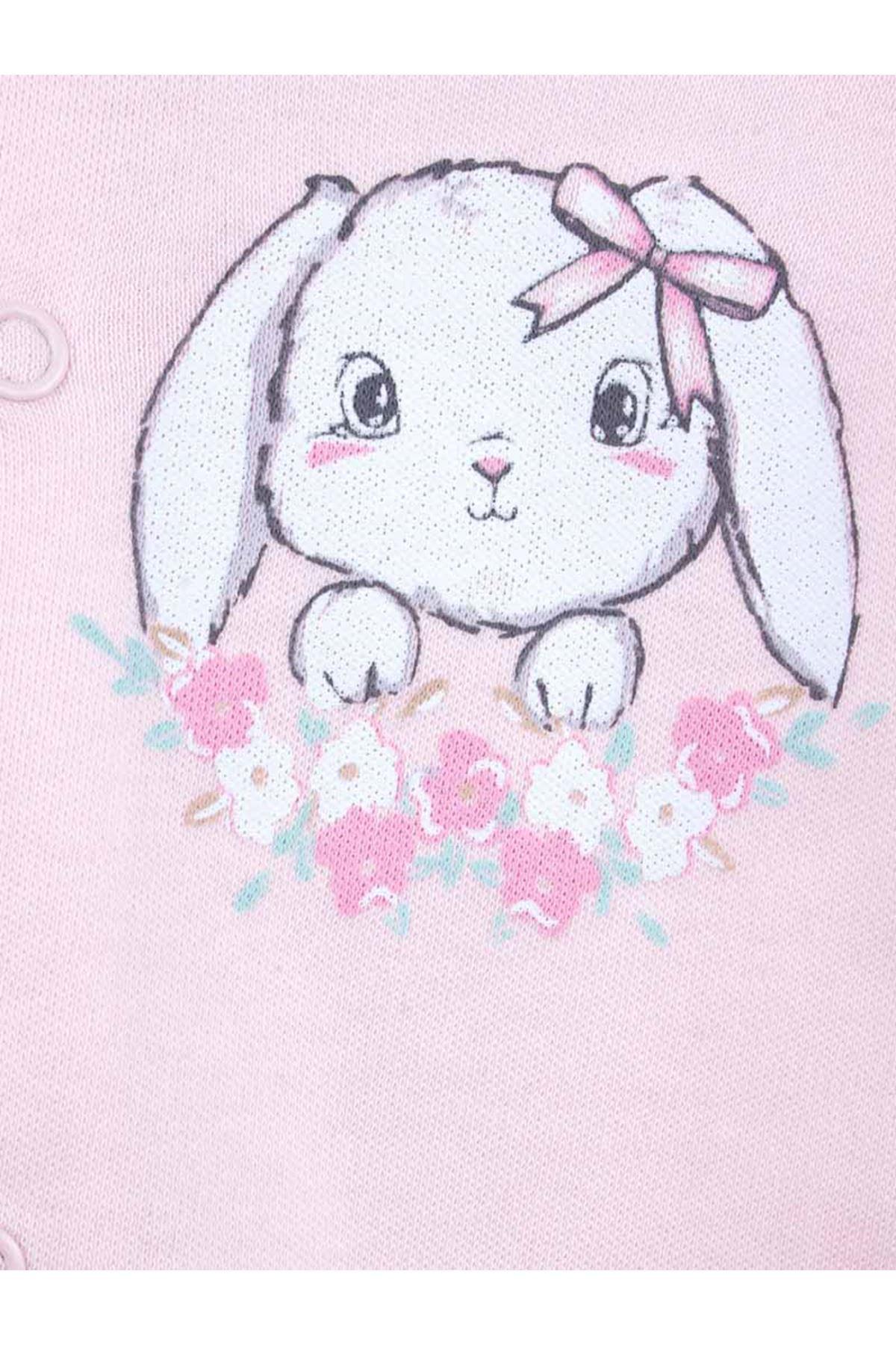 Pembe Tavşanlı Kız Bebek 3 lü Tulum