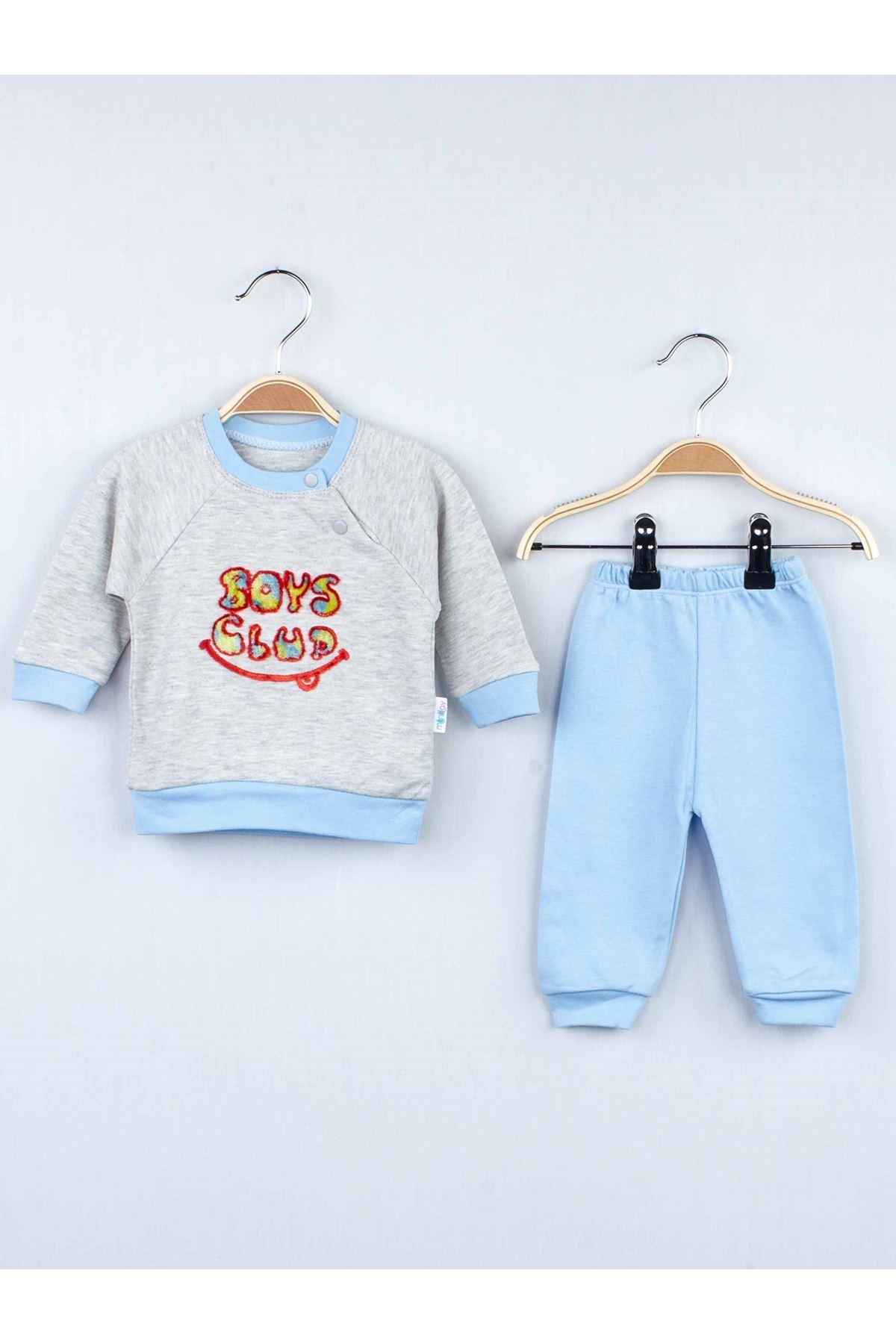 Mavi Kışlık Erkek Bebek 2 li Takım
