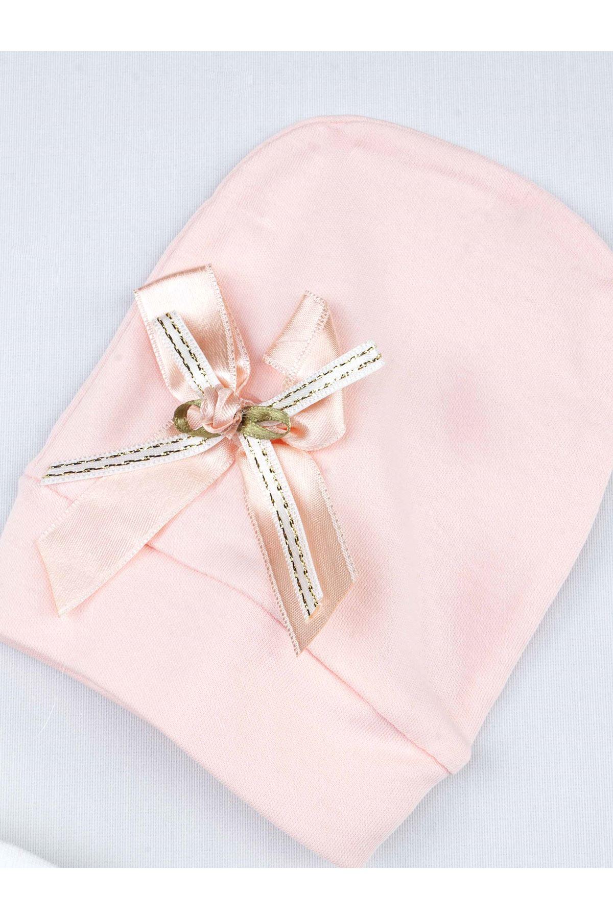 Pudra Mevsimlik Kız Bebek Şapkalı Tulum