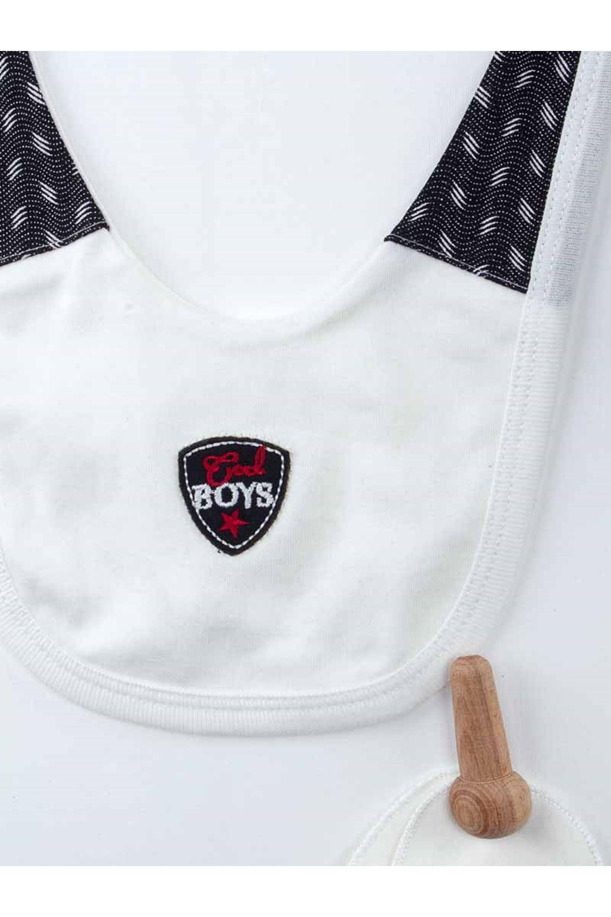 Siyah  Yenidoğan Yelekli Papyonlu Erkek Bebek 5 li Hastane Çıkışı