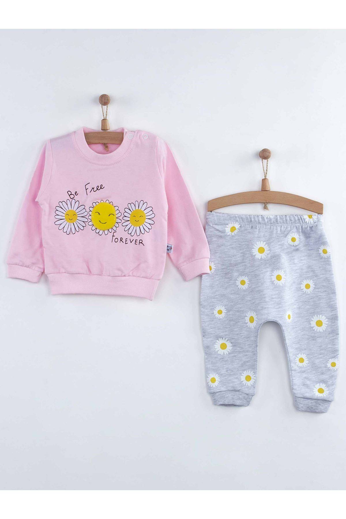 Pink Baby Girl 2 Piece Set sets Suits Cotton Seasonal flower Pattern Girls Babies Daily Newborn Style Comfortable Clothing Clothes Model