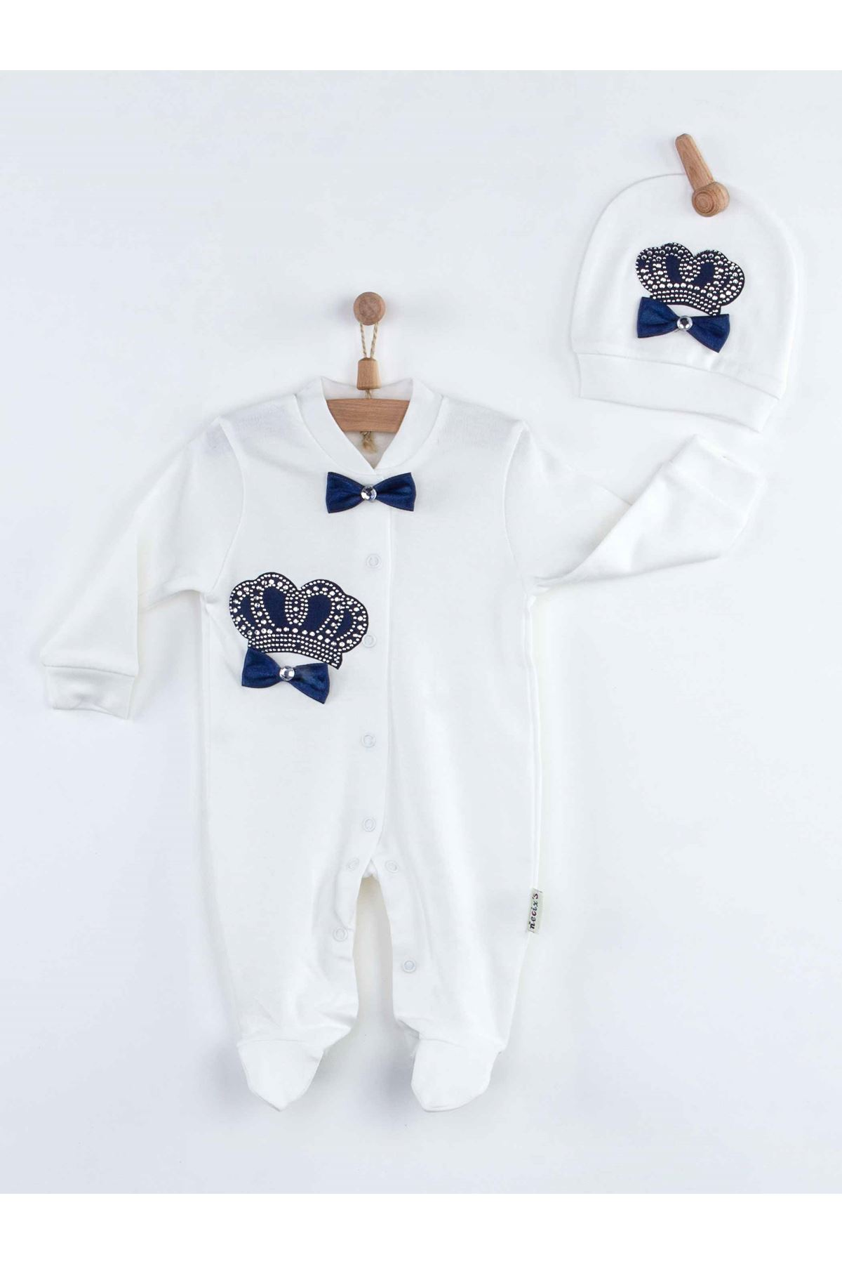 Navy Blue Boys Baby Rompers King Queen Newborn Clothes 3pcs Set Cotton Soft Fabric For Newborn Babies Of Kinds clothing