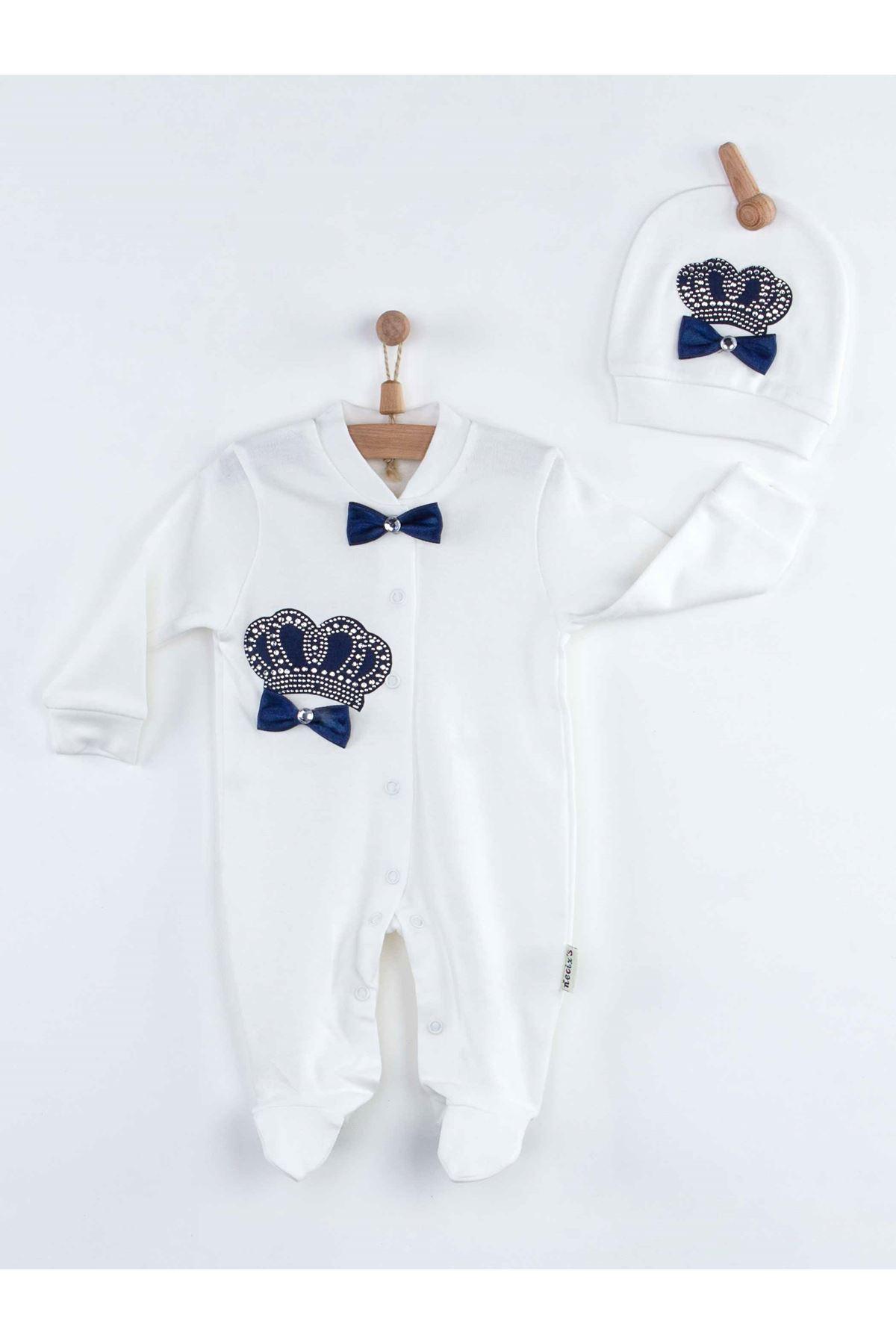 Lacivert Kral Taçlı Erkek Bebek Tulum