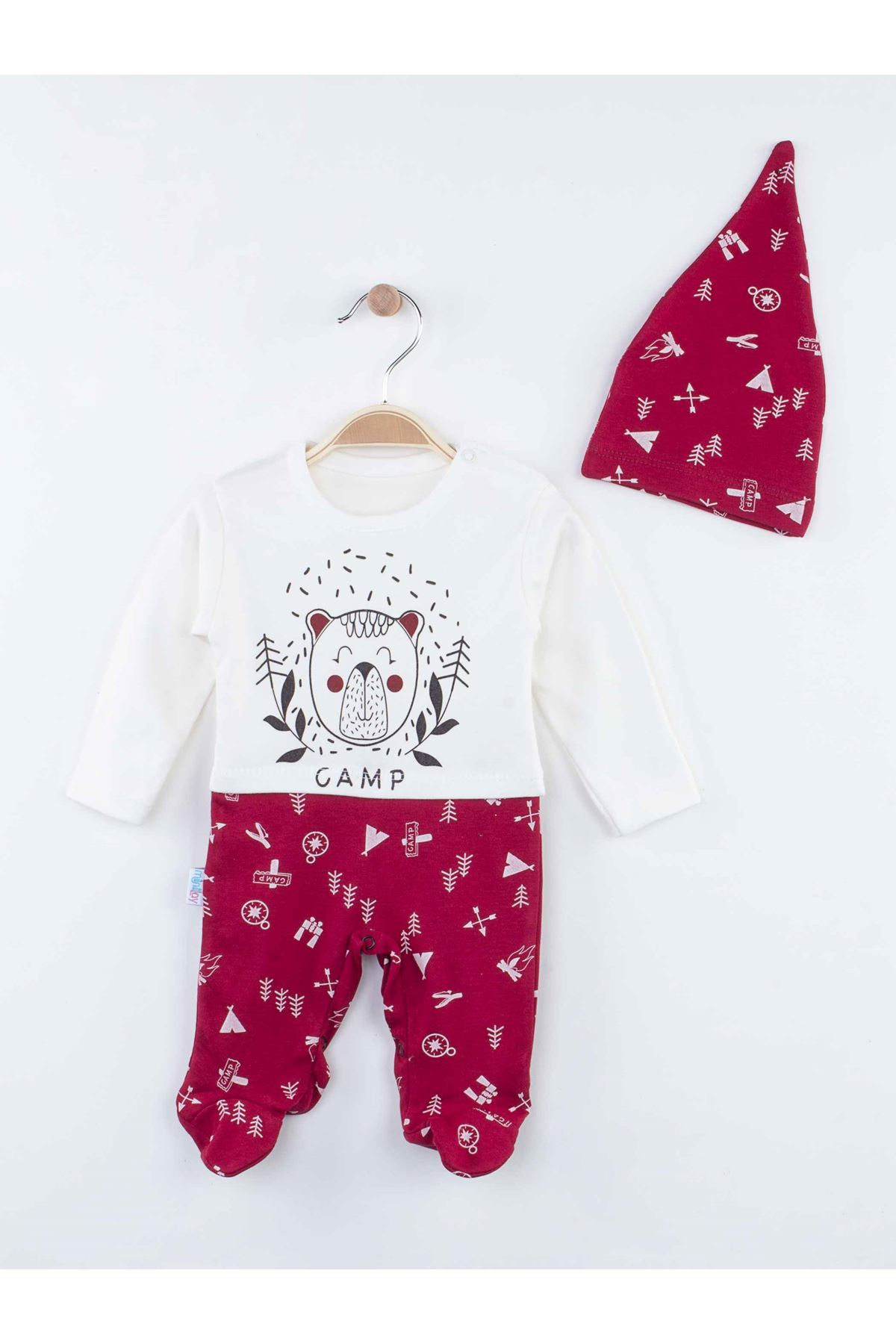 Burgundy Seasonal Male Baby Hat Jumpsuit