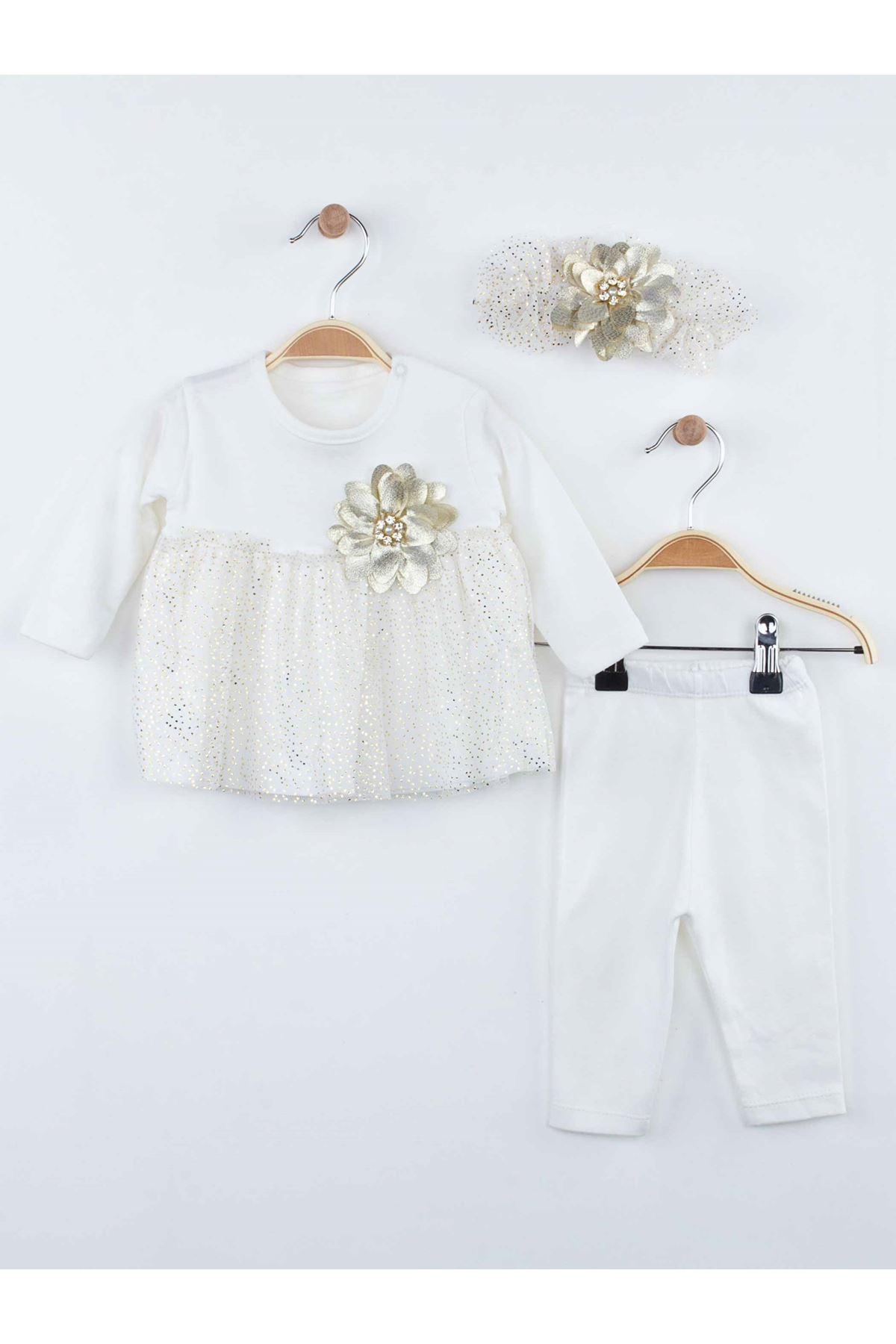 Beyaz Bandanalı Kız Bebek Taytlı Takım