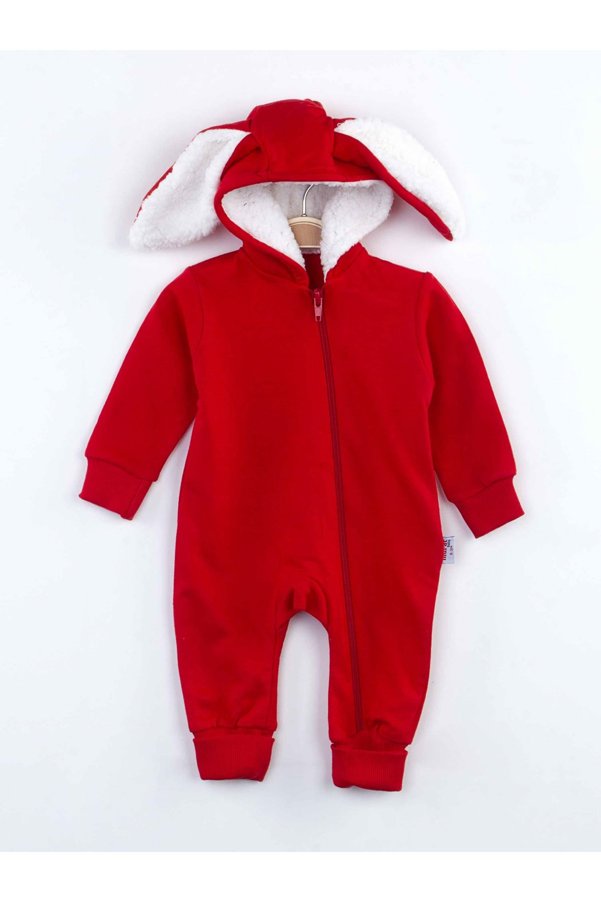 Red Rabbit Eared Baby Boy Jumpsuit