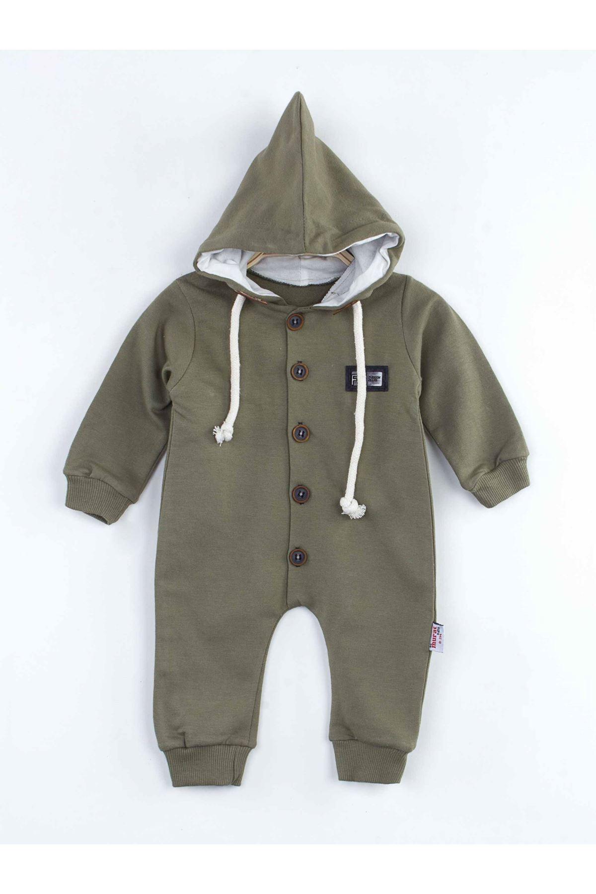 Haki Kapüşonlu Erkek Bebek Tulum