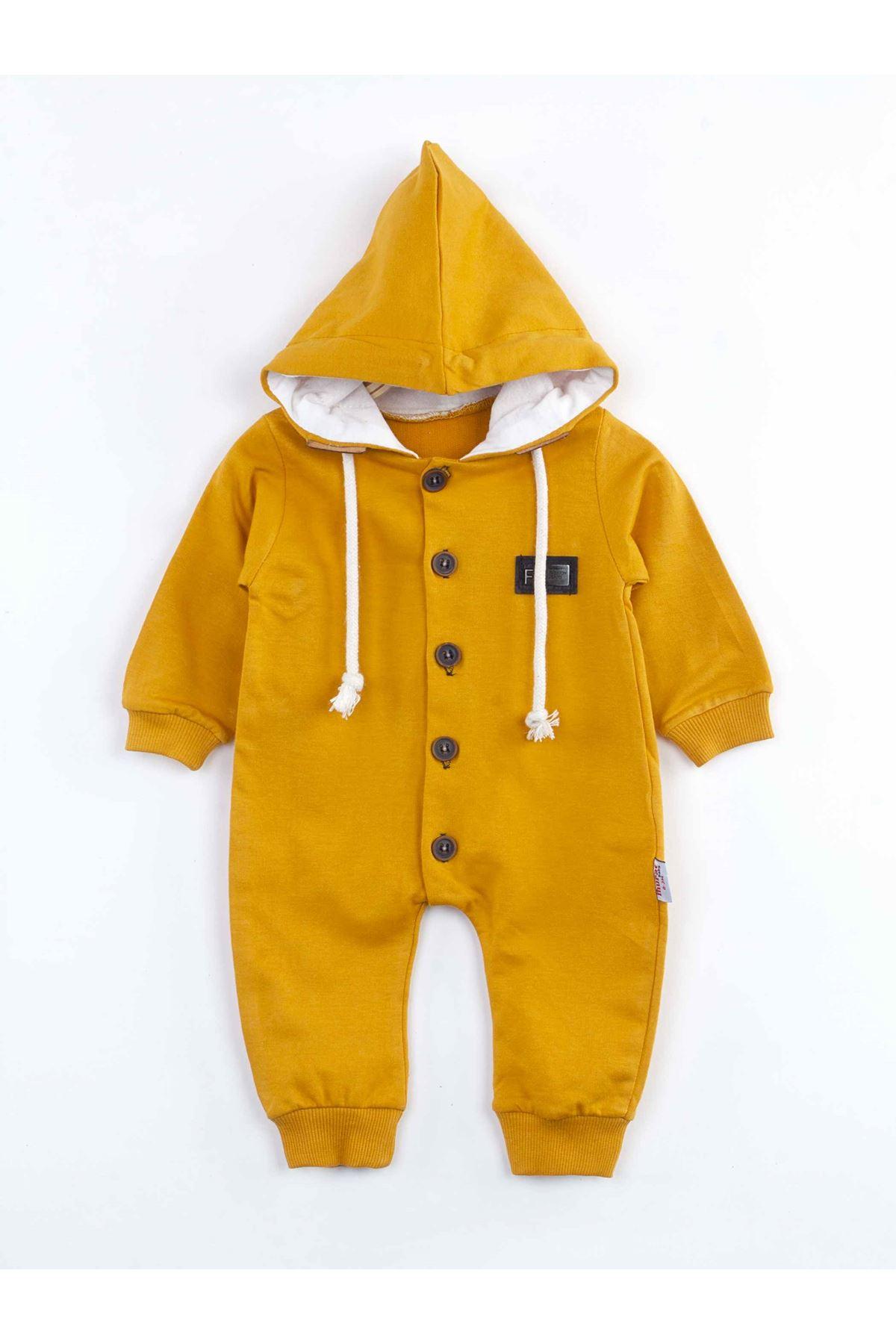 Sarı Kapüşonlu Erkek Bebek  Tulum