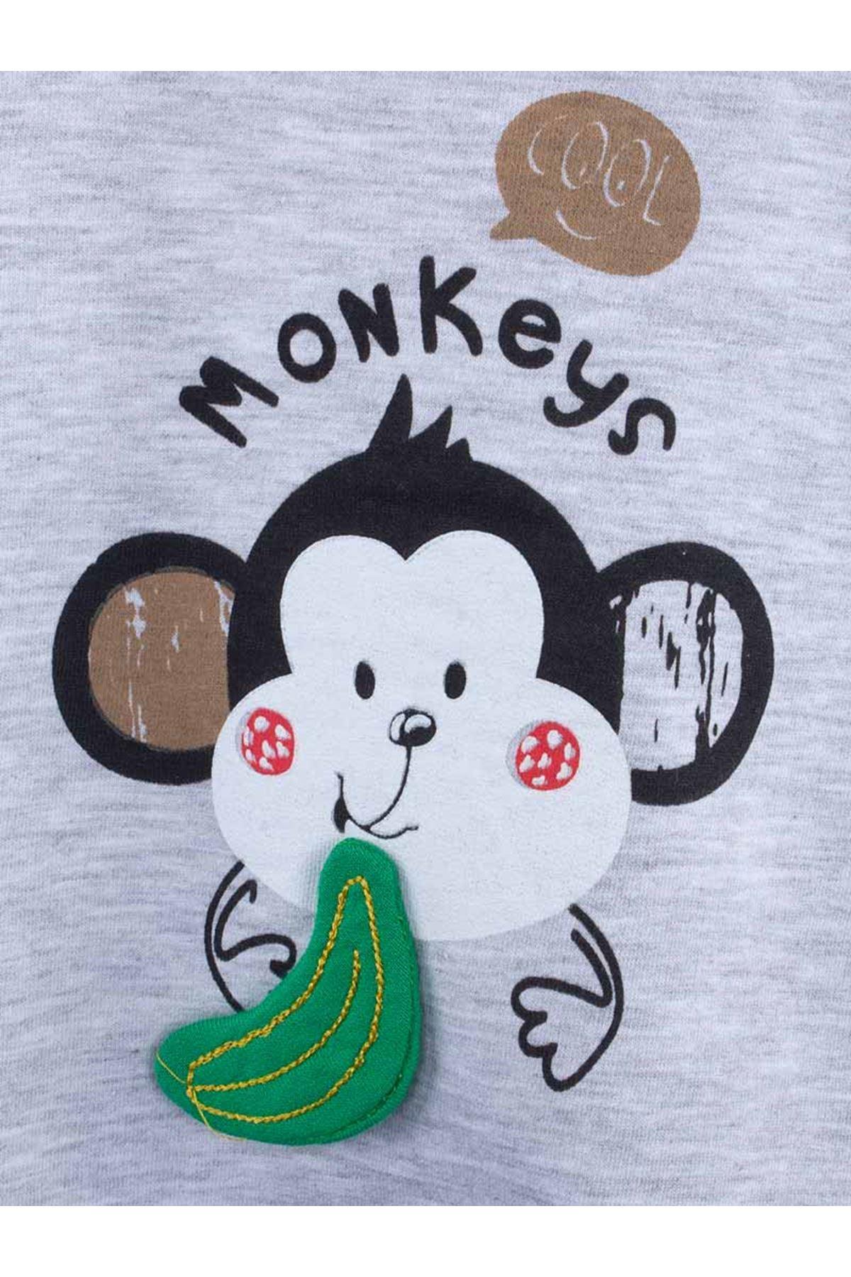Gri Maymun Baskılı Erkek Bebek Salopet Tulum