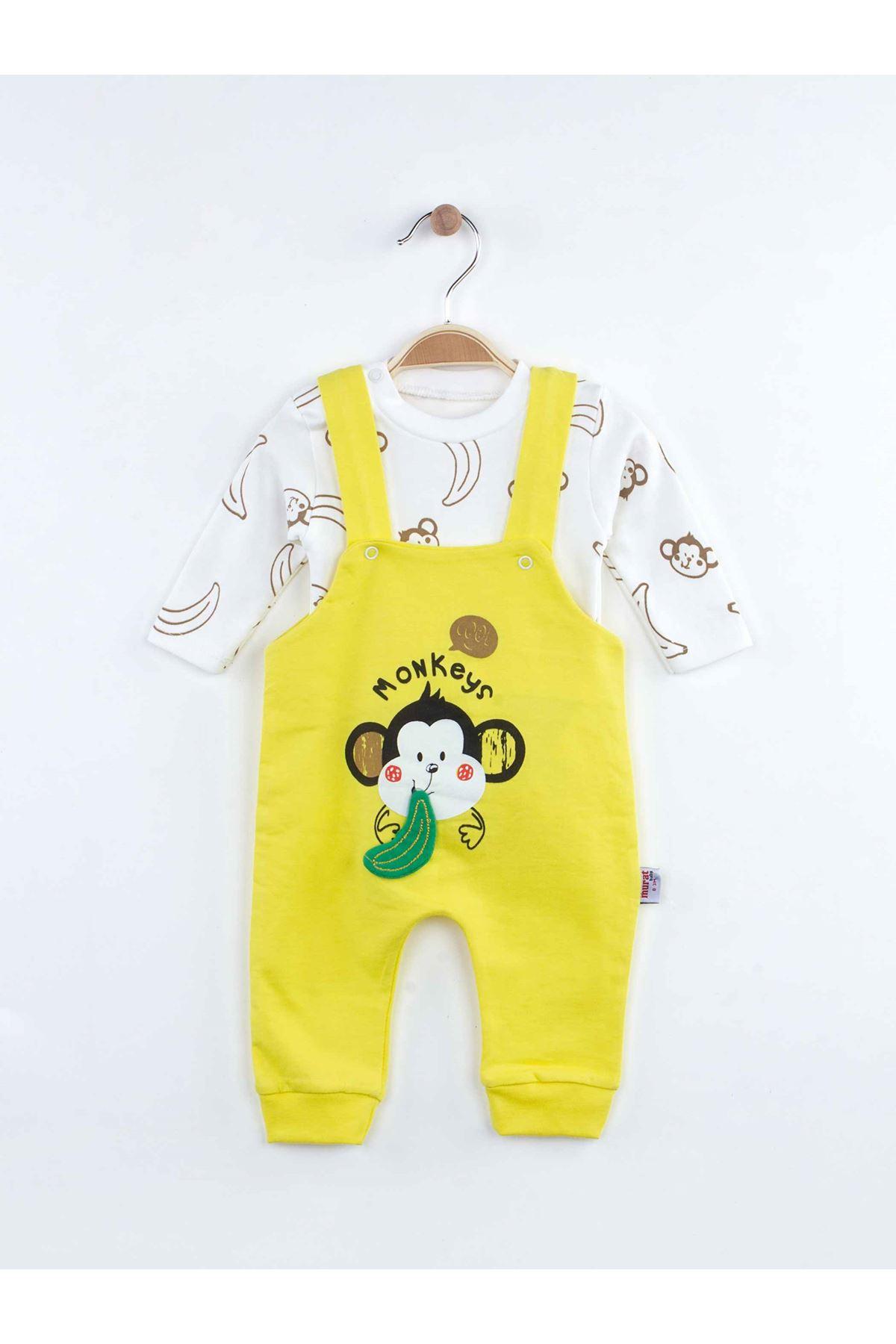 Sarı Maymun Baskılı Erkek Bebek Salopet Tulum