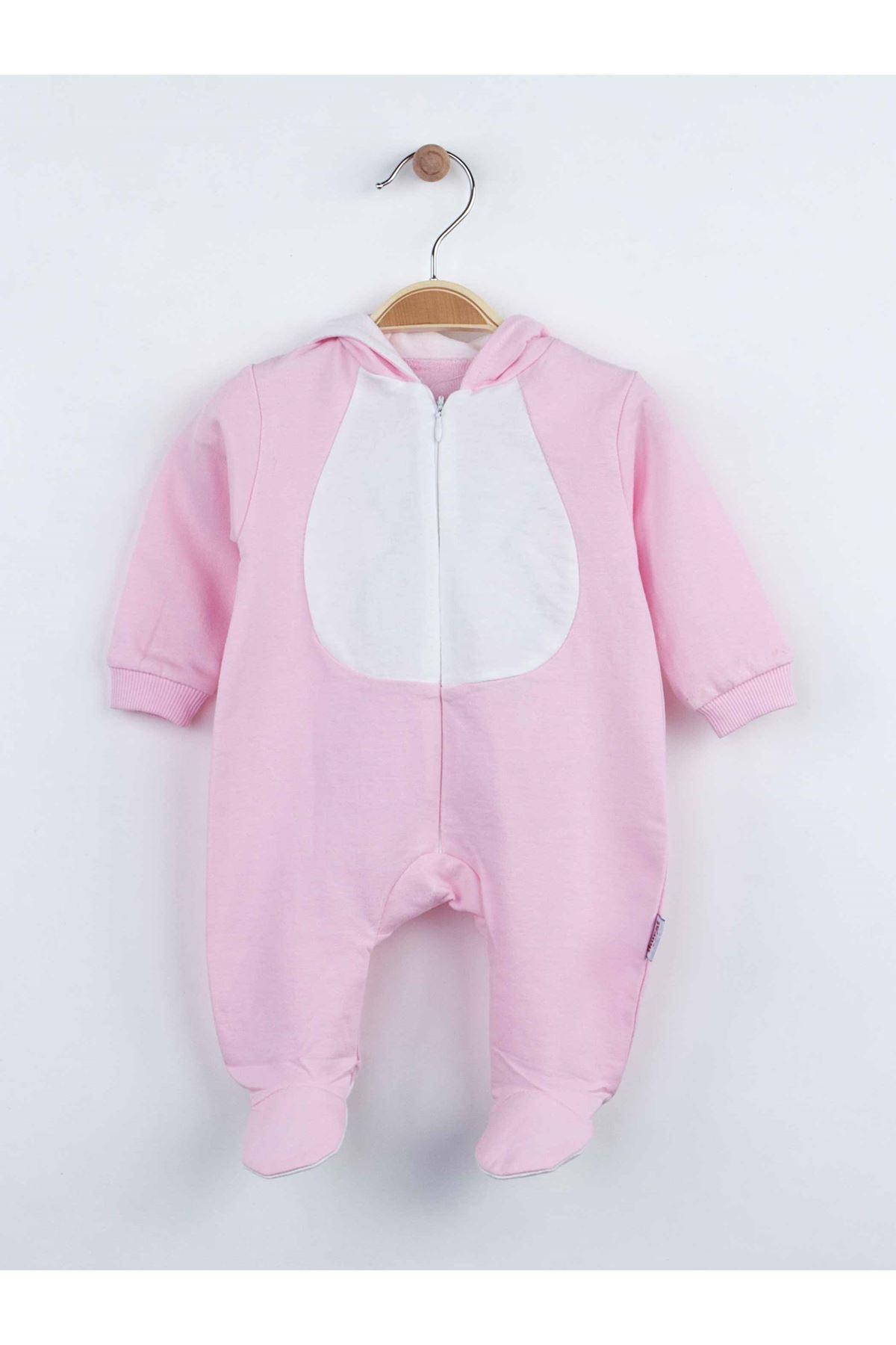 Pembe Tavşan Kulaklı Kız Bebek Tulum