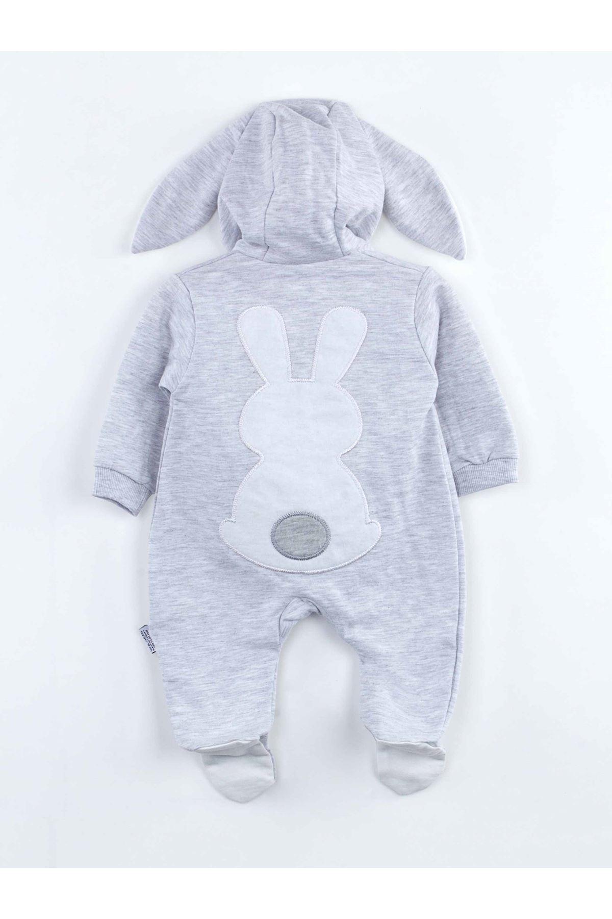 Gri Tavşan Kulaklı Erkek Bebek Tulum