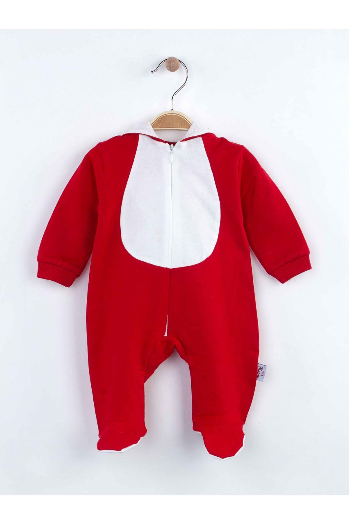 Kırmızı Tavşan Kulaklı Erkek  Bebek Tulum