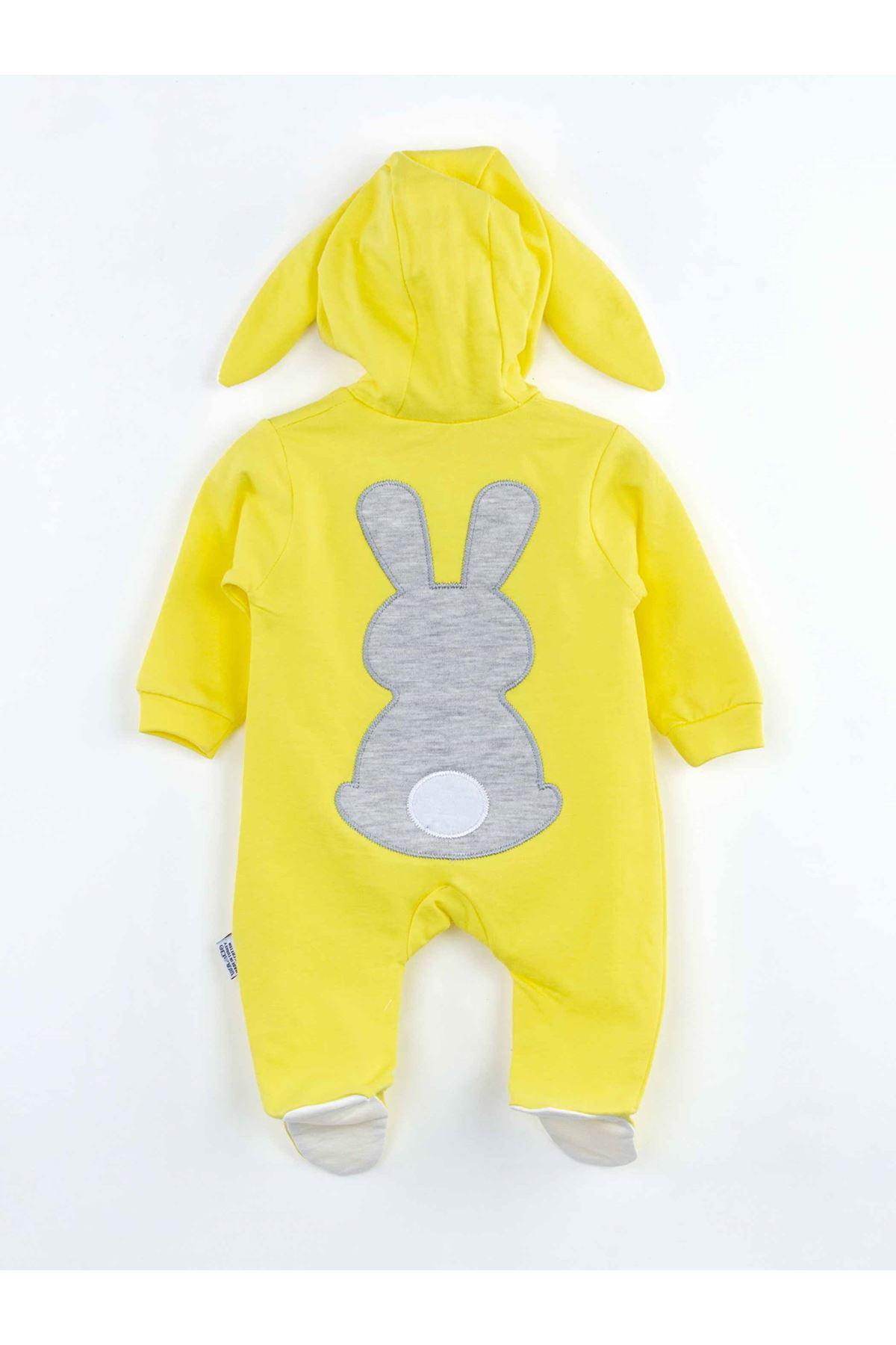 Sarı Tavşan Kulaklı Kız Bebek Tulum
