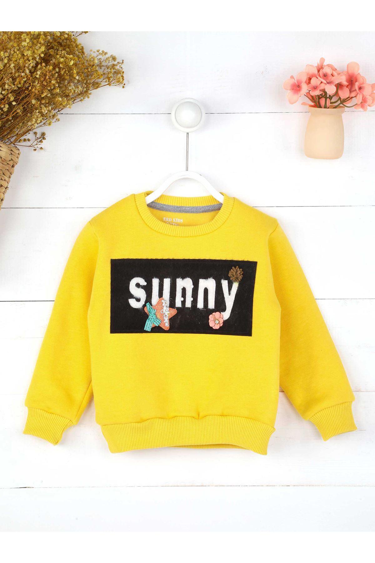 Sarı Mevsimlik Kız Çocuk Sweatshirt