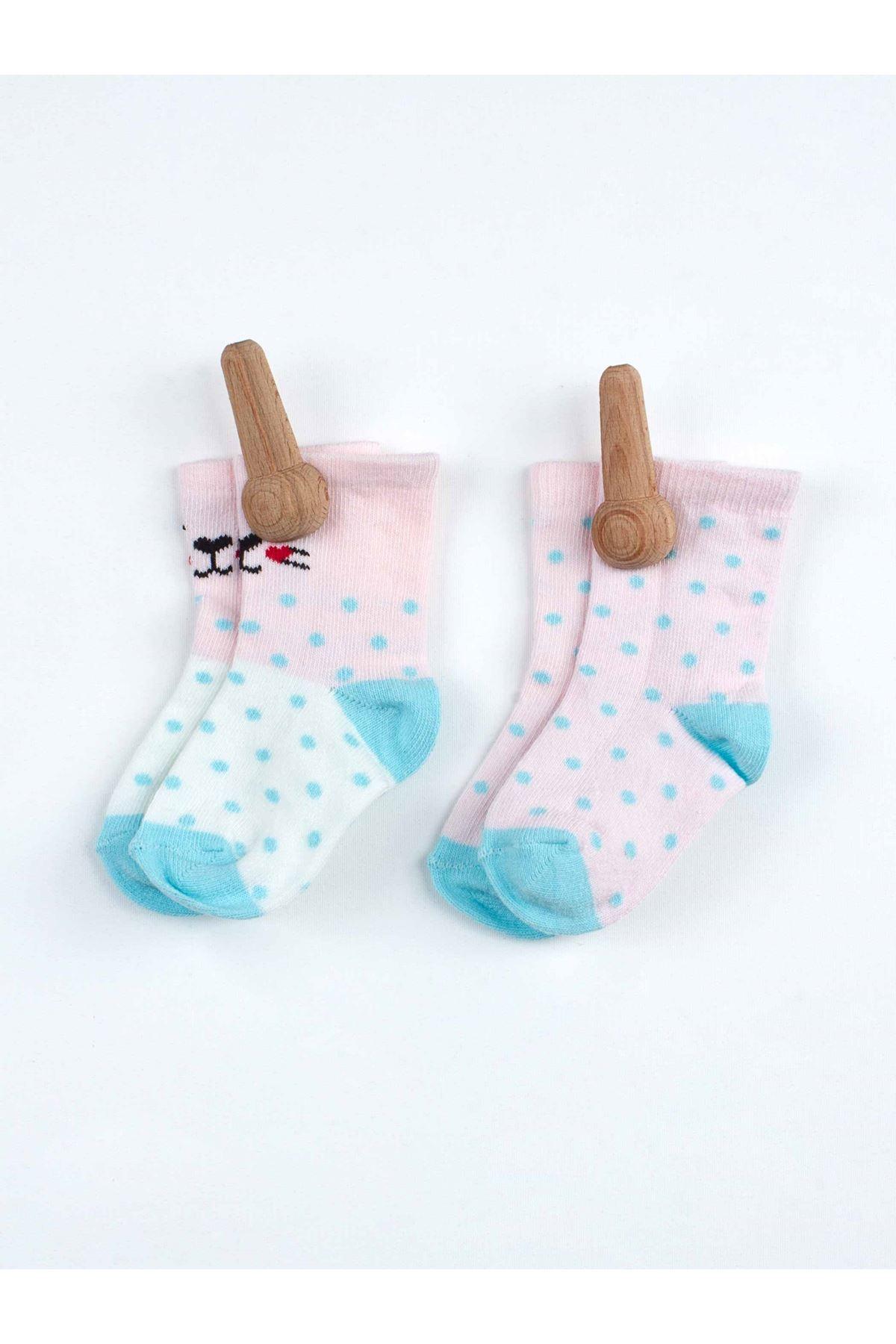Pembe Kokulu Kız Bebek 2 li Çorap