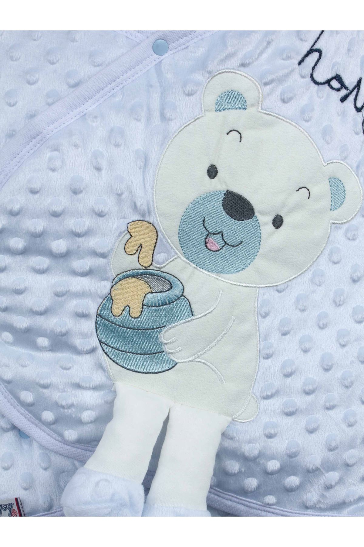 Baby Girls Boys Bear Toy Comfortable Sleeping Bag Swaddle with Bottom Opening Chickpea Embossed Soft Envelope Bed Cute Babies