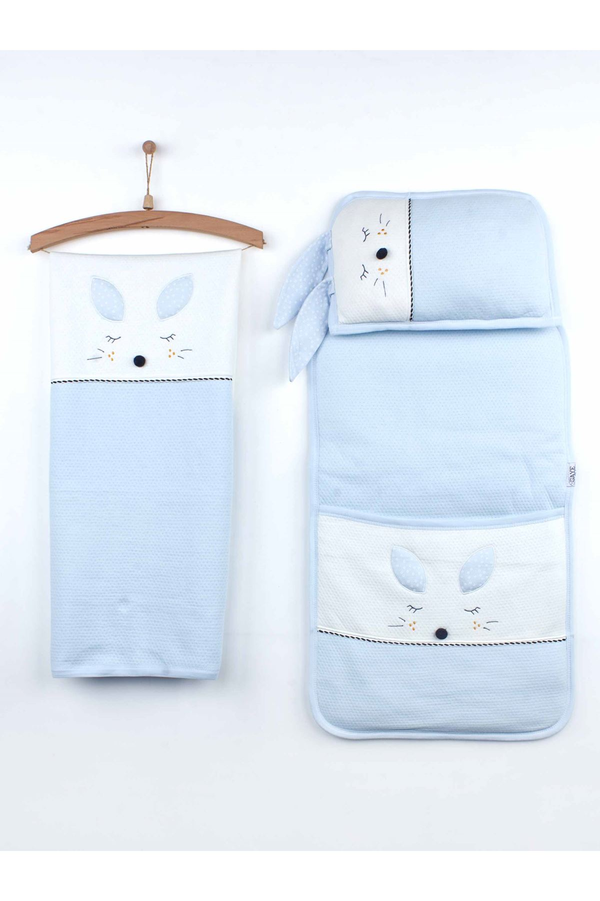 Blue Baby Boy Blanket Pillow and Swaddle Bottom Opening Set