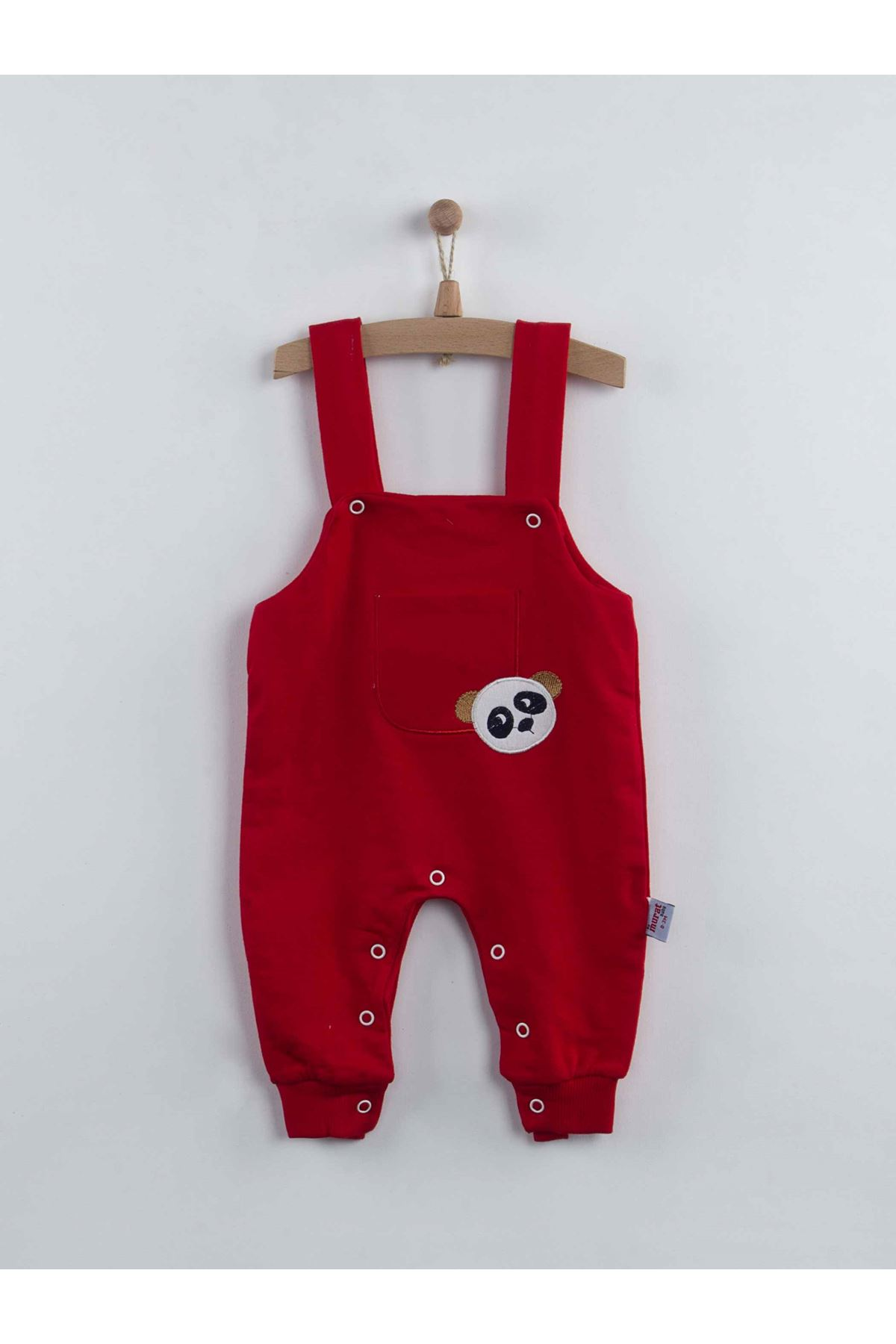 Kırmızı Pandalı Erkek Bebek Salopet Tulum
