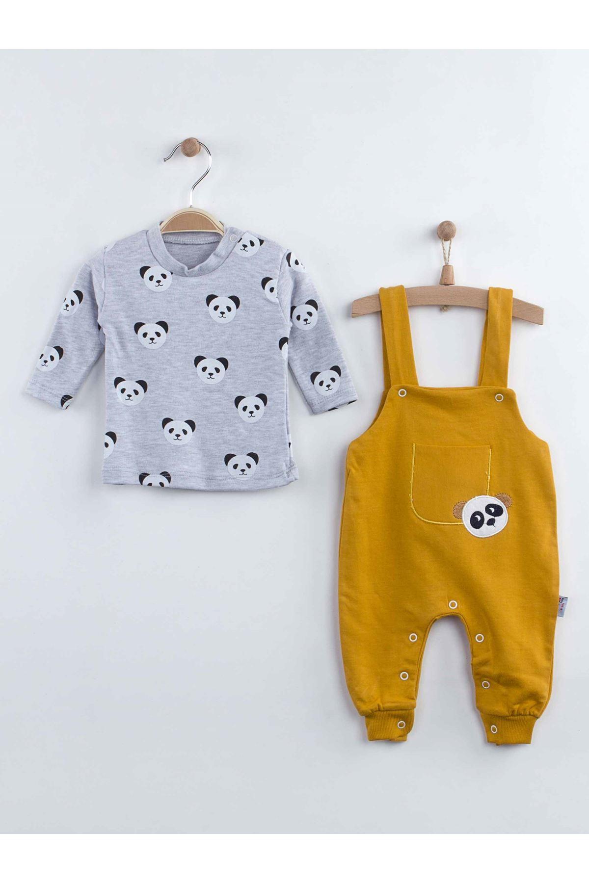 Sarı Pandalı Erkek Bebek Salopet Tulum