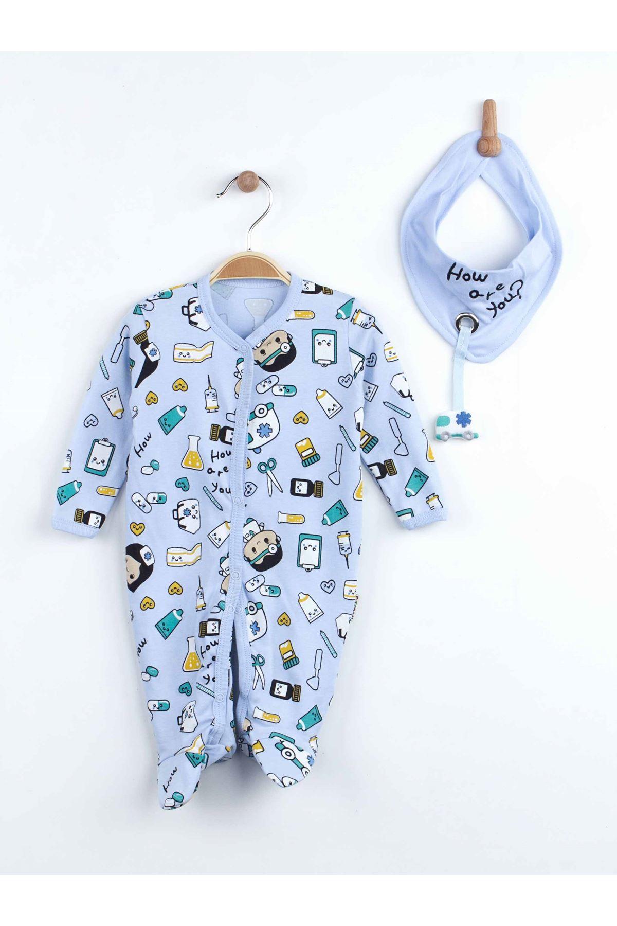 Mavi Fularlı Erkek Bebek Tulum