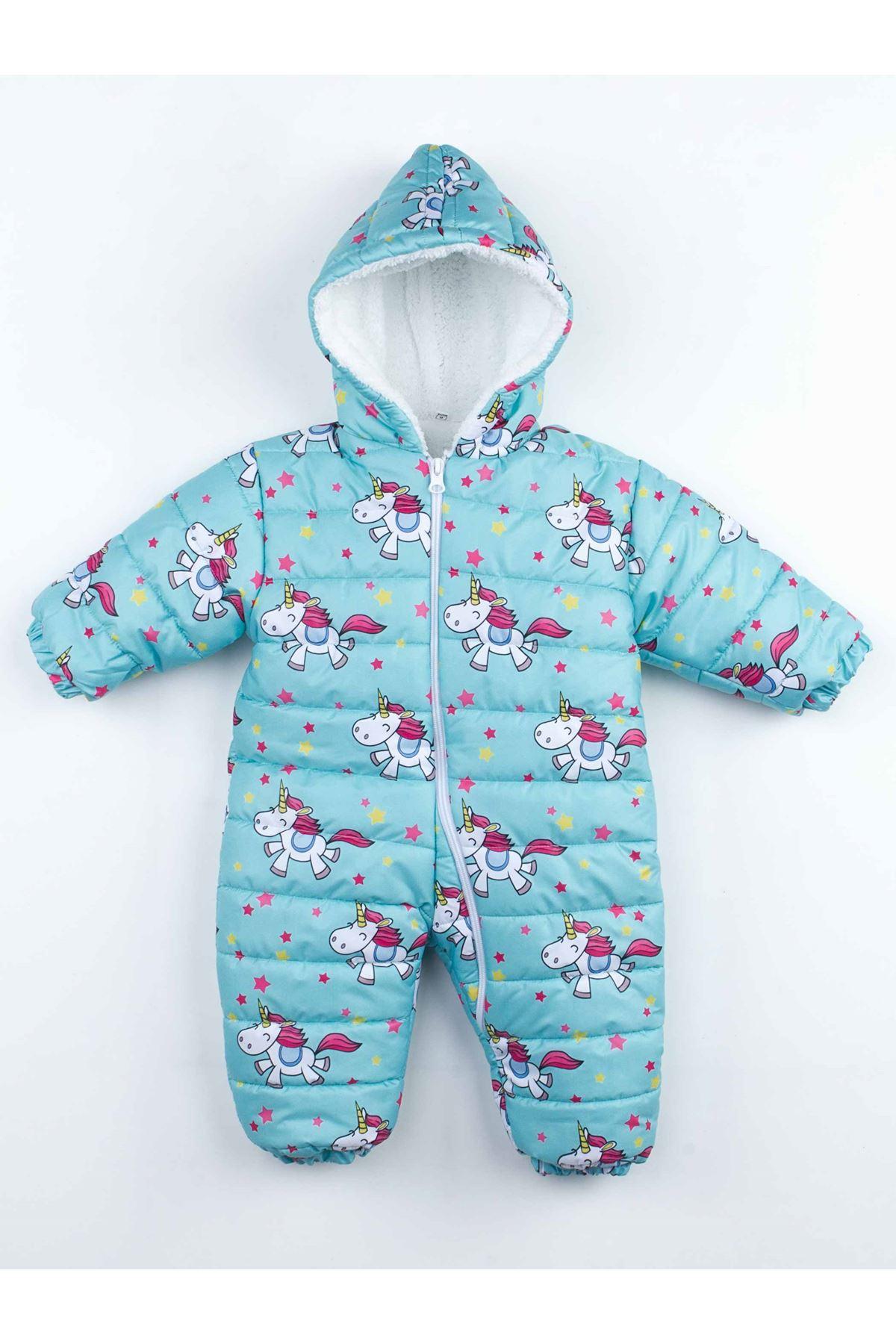Yeşil  Kışlık Kız  Bebek Kozmonot Tulum
