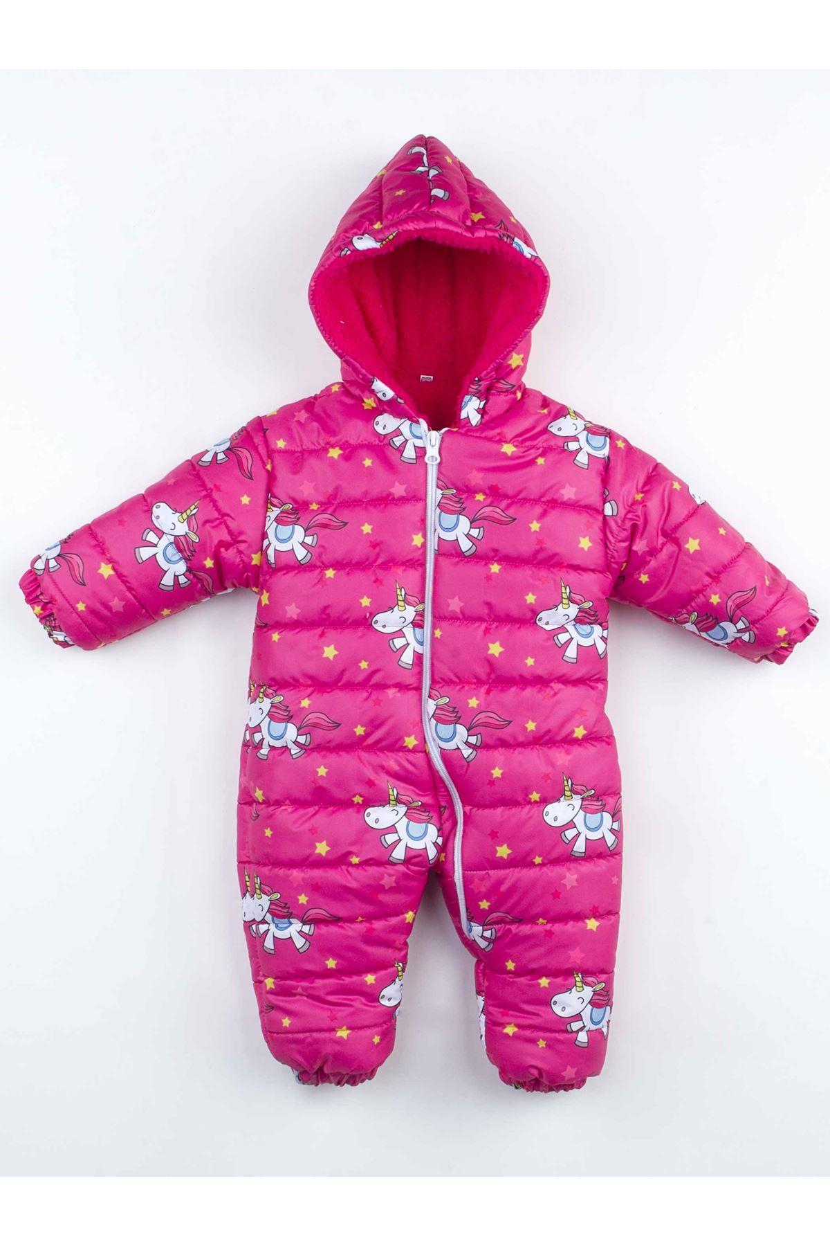 Fuşya  Kışlık Kız   Bebek Kozmonot Tulum