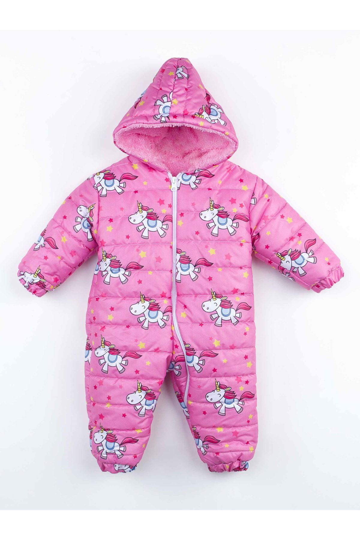 Pembe  Kışlık Kız  Bebek Kozmonot Tulum