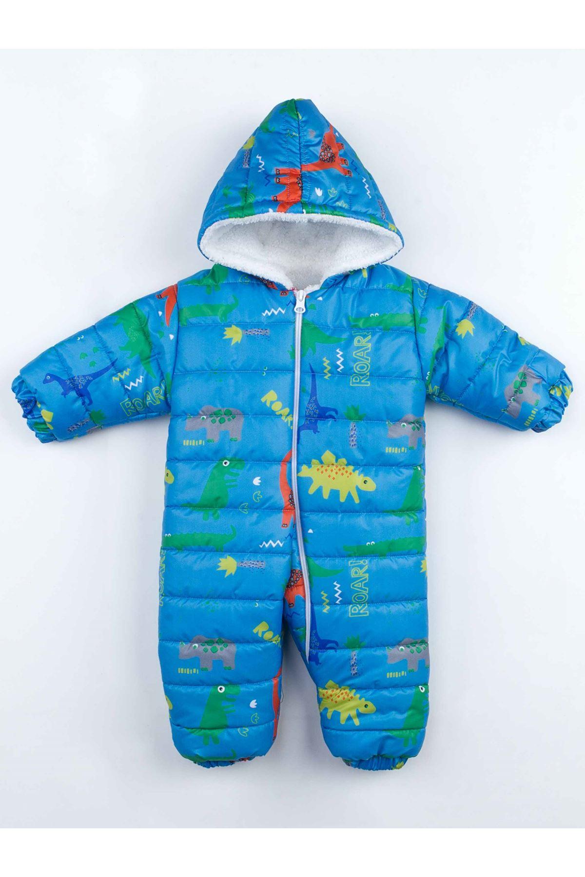 Mavi Dinazorlu Kışlık Bebek Kozmonot Tulum