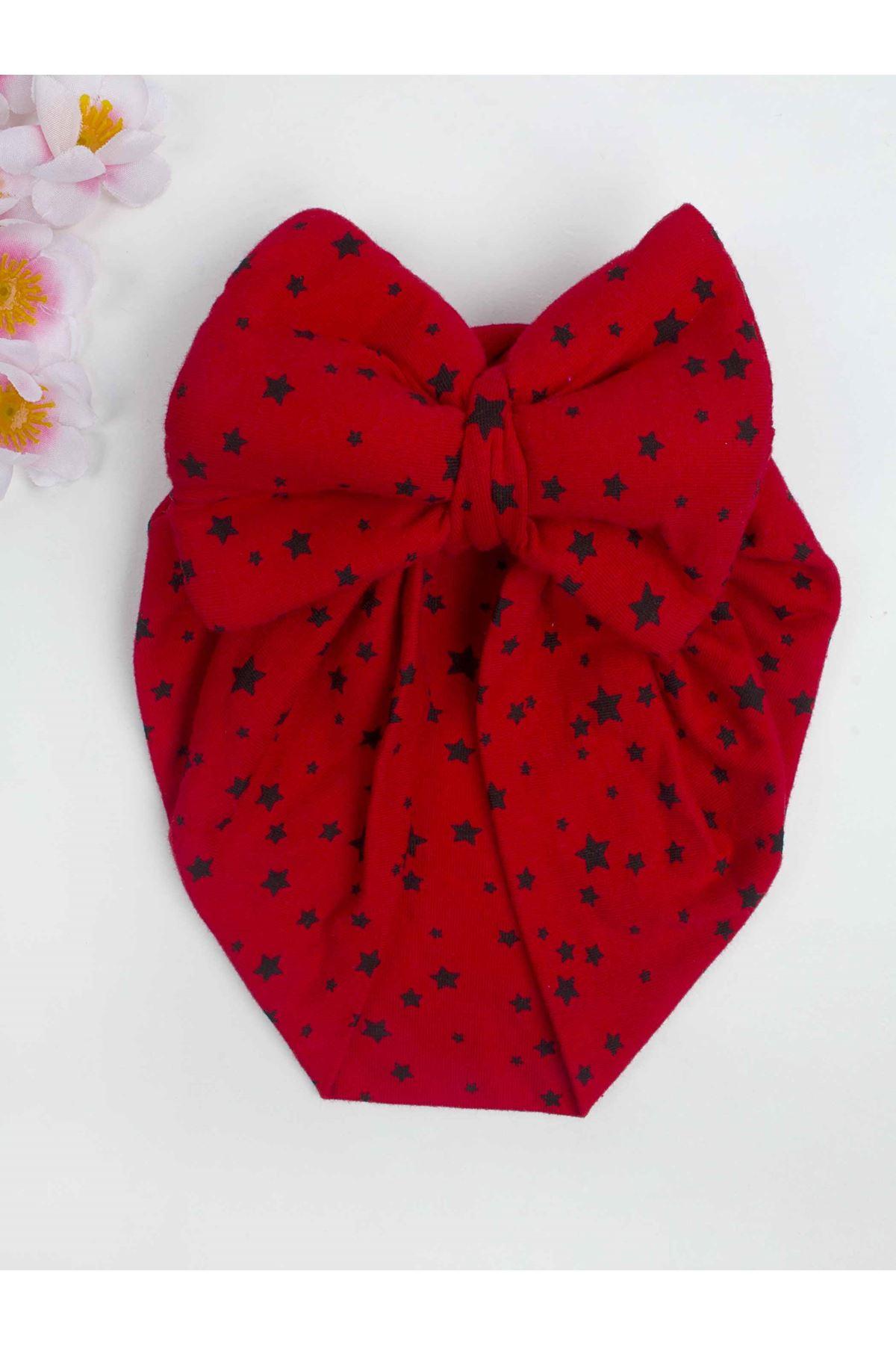Kırmızı Fiyonklu Kız Bebek Bone