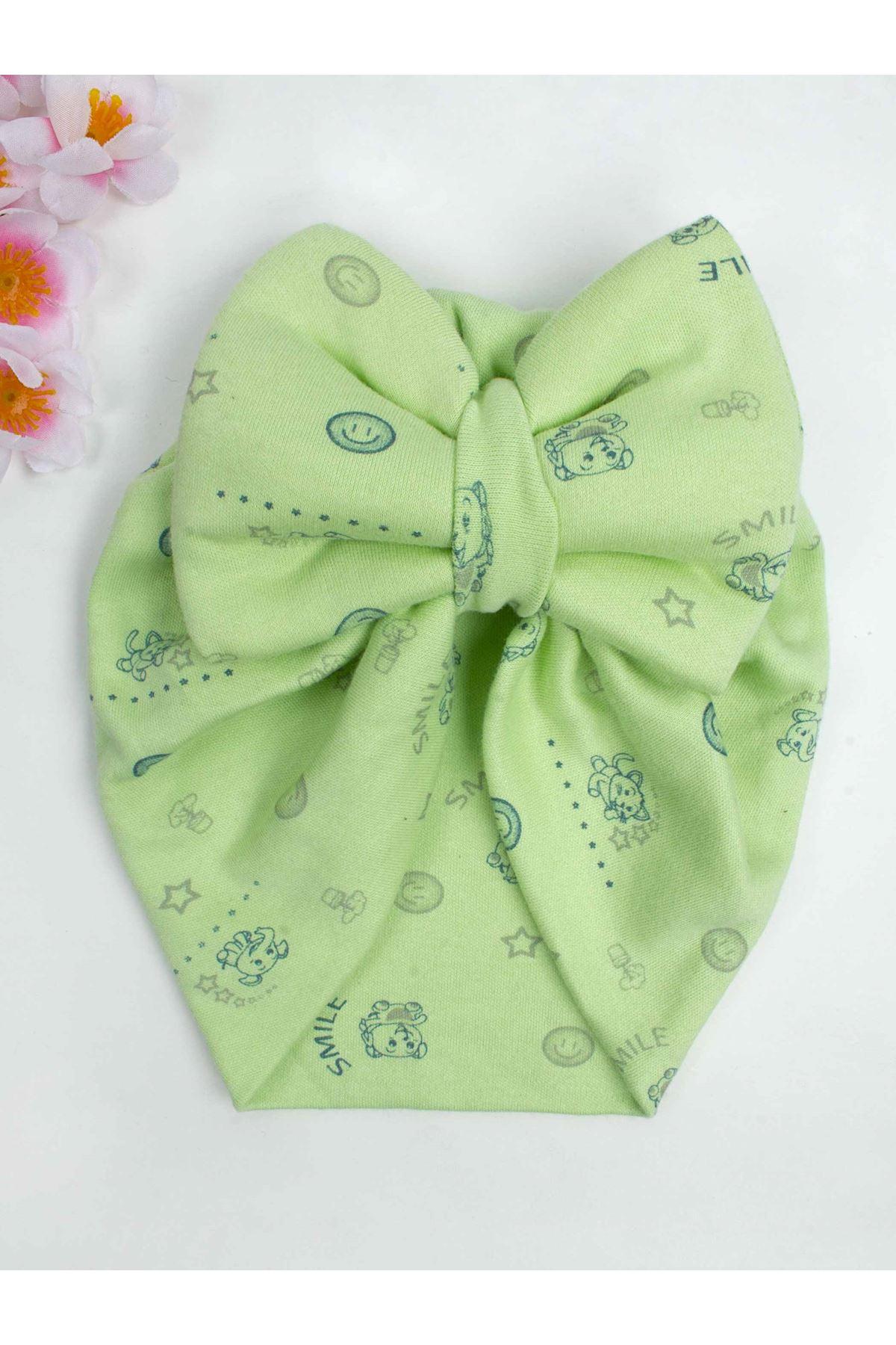 Yeşil  Fiyonklu Kız Bebek Bone