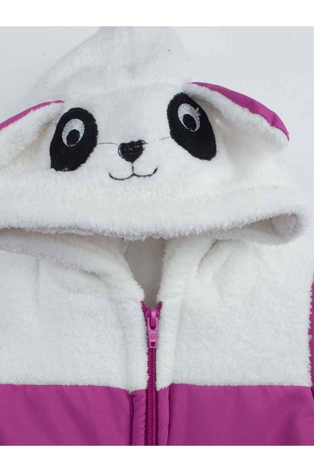 Mor  Pandalı Kız Çocuk Kapüşonlu Mont