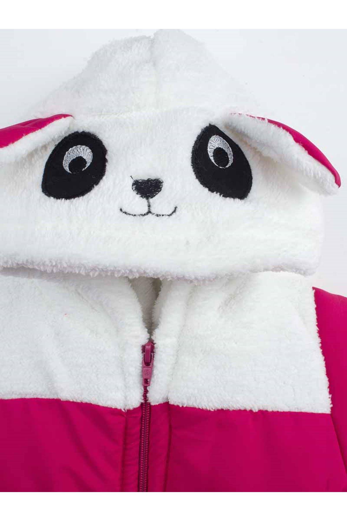 Fuşya  Pandalı Kız Çocuk Kapüşonlu Mont