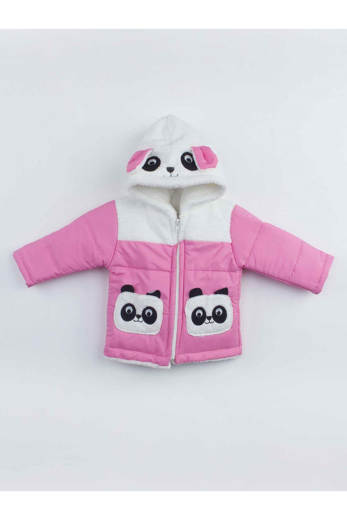Pembe Pandalı Kız Çocuk Kapüşonlu Mont