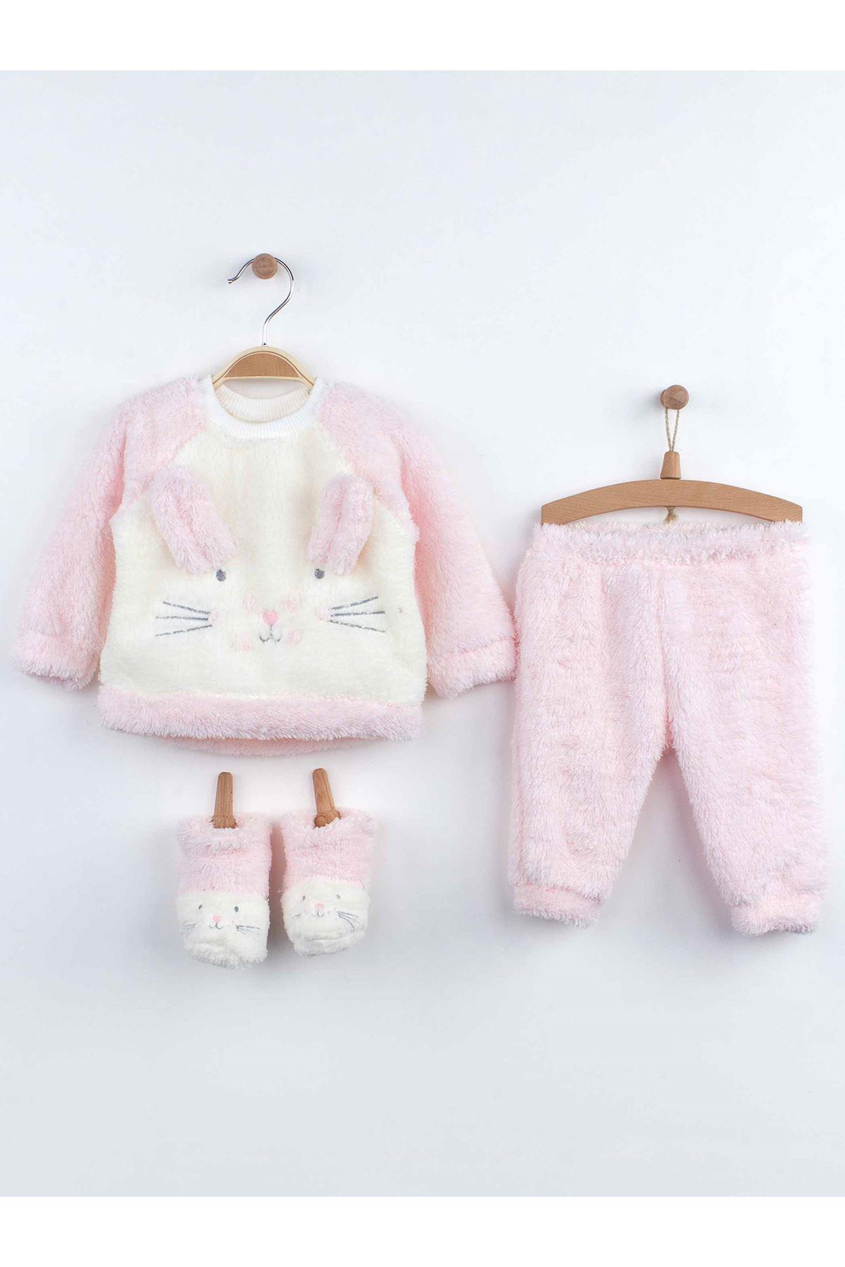 Pembe Kışlık Peluş Tavşanlı Kız Bebek Patikli Takım
