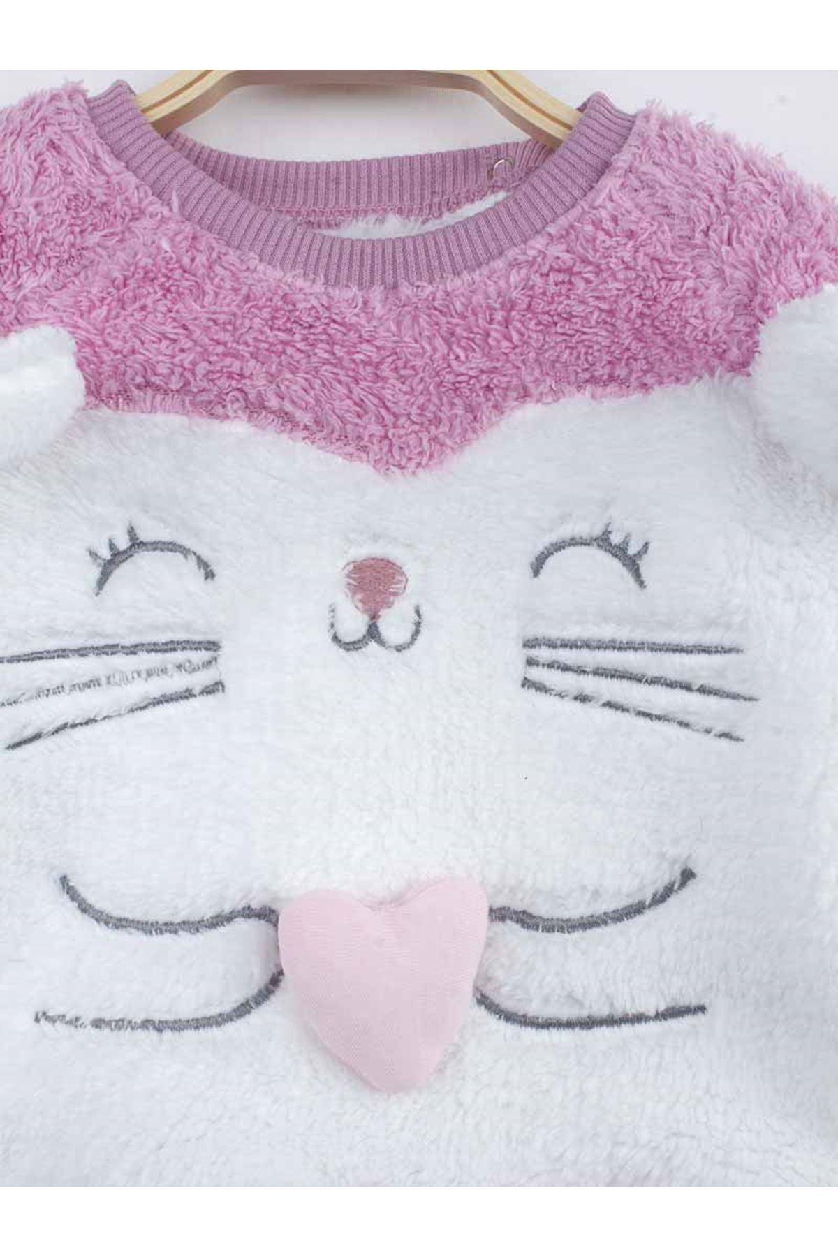 Lila  Kışlık Peluş Kedili Kız Bebek Patikli Takım