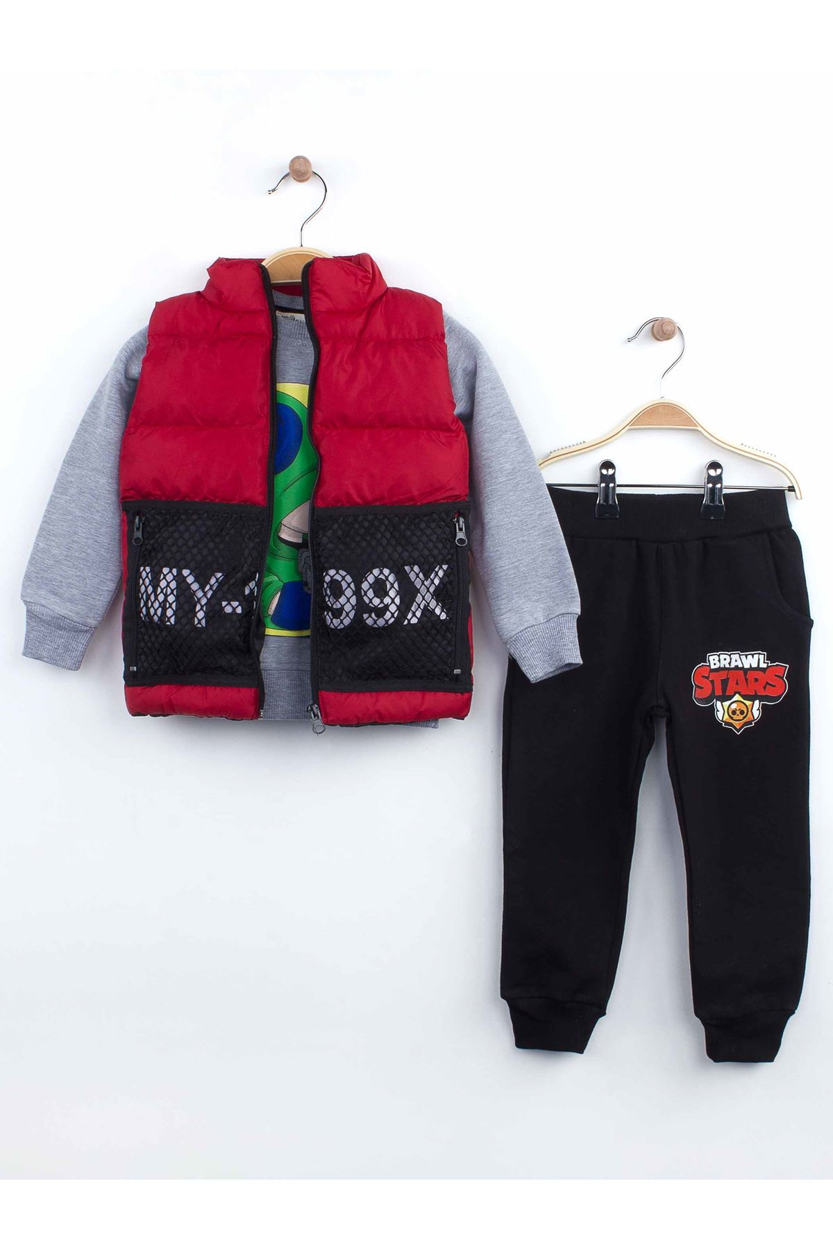Red Winter Inflatable Vest Male Child 3 PCs Set