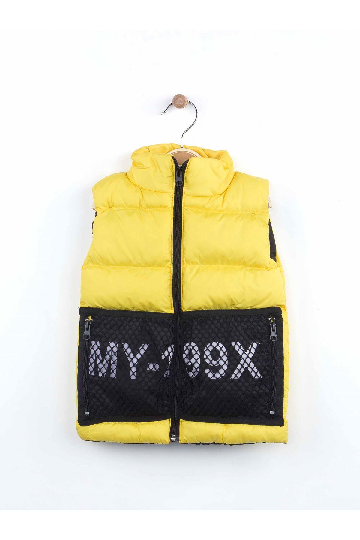 Sarı Kışlık Şişme Yelekli Erkek Çocuk 3 lü Takım