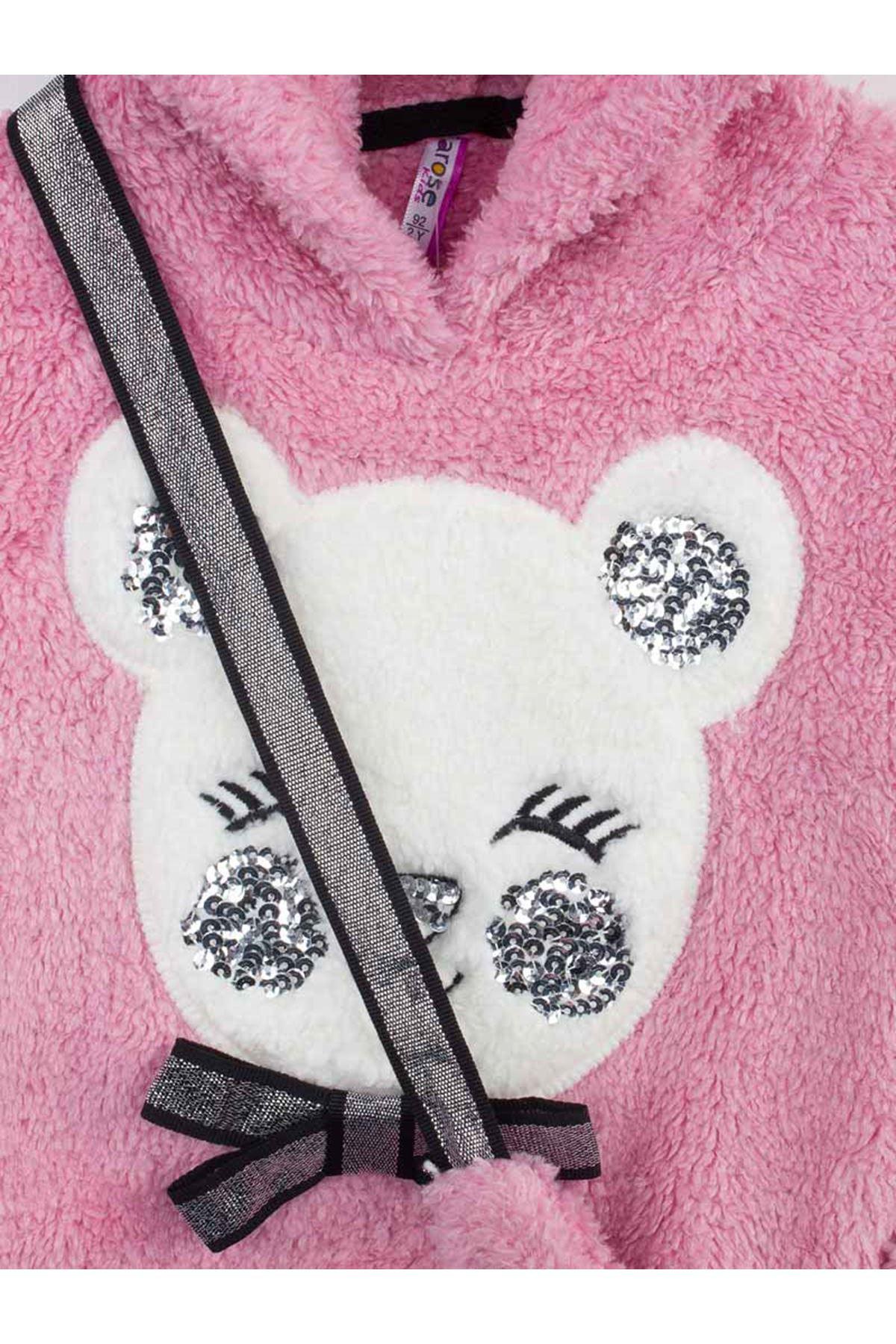 Mürdüm  Kışlık Peluş Kız Çocuk Çantalı 3 lü Takım
