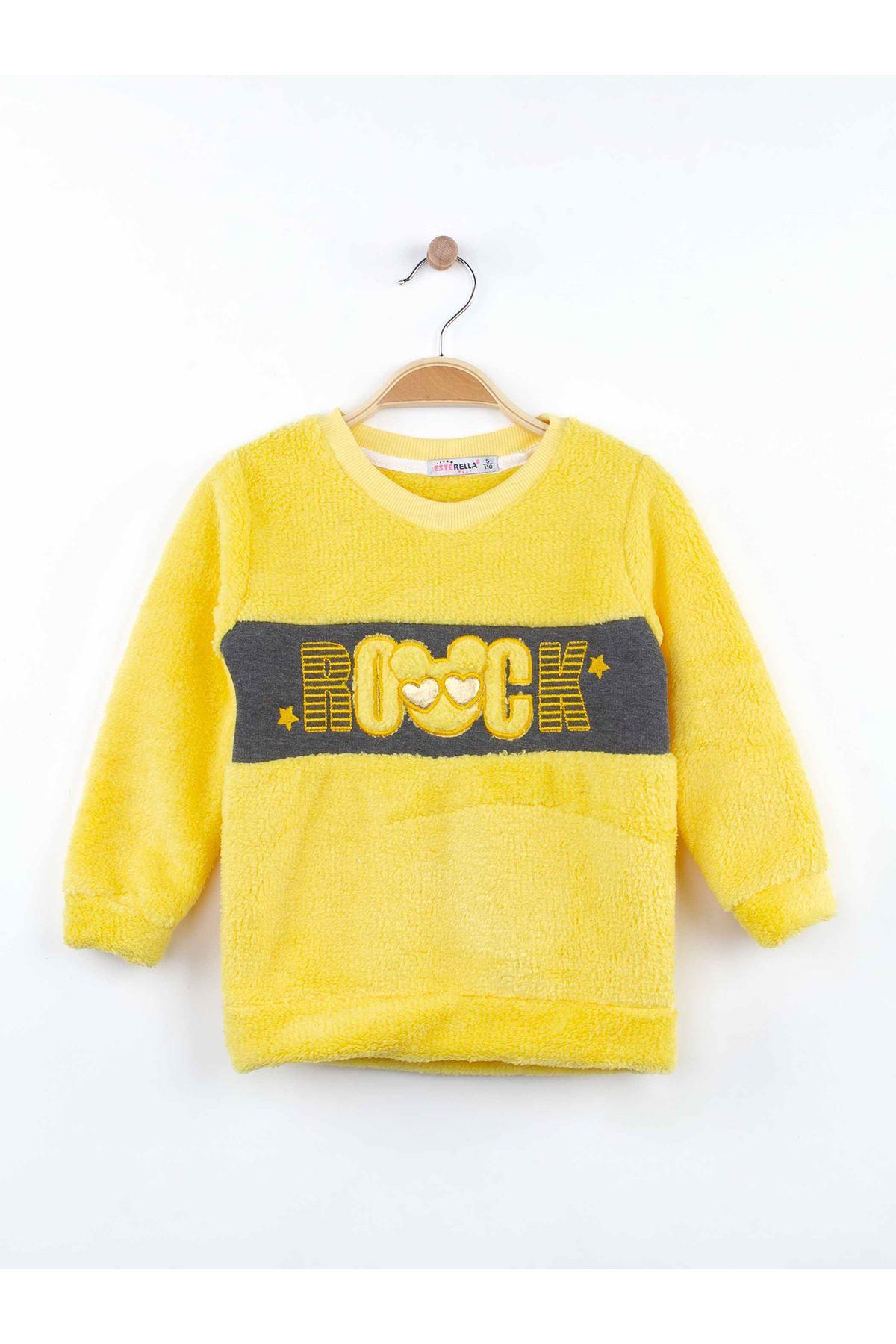 Sarı Kışlık Peluş Kız Çocuk 2 li Takım