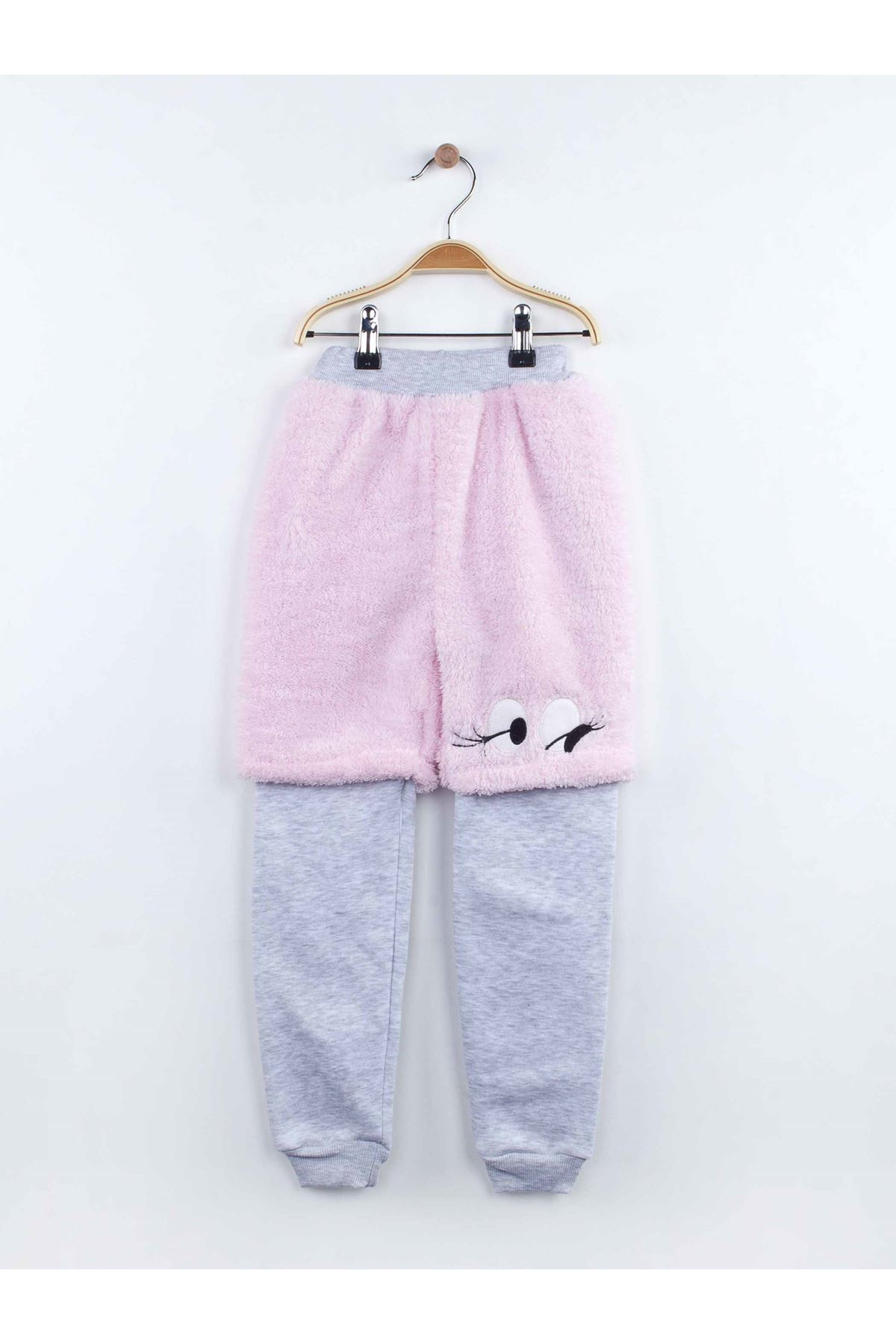 Pink Gray Baby Girl Plush Fabric 2 Pieces Warm Casual Style Pattern Cotton Season Babies Quality Fabric Suit Models
